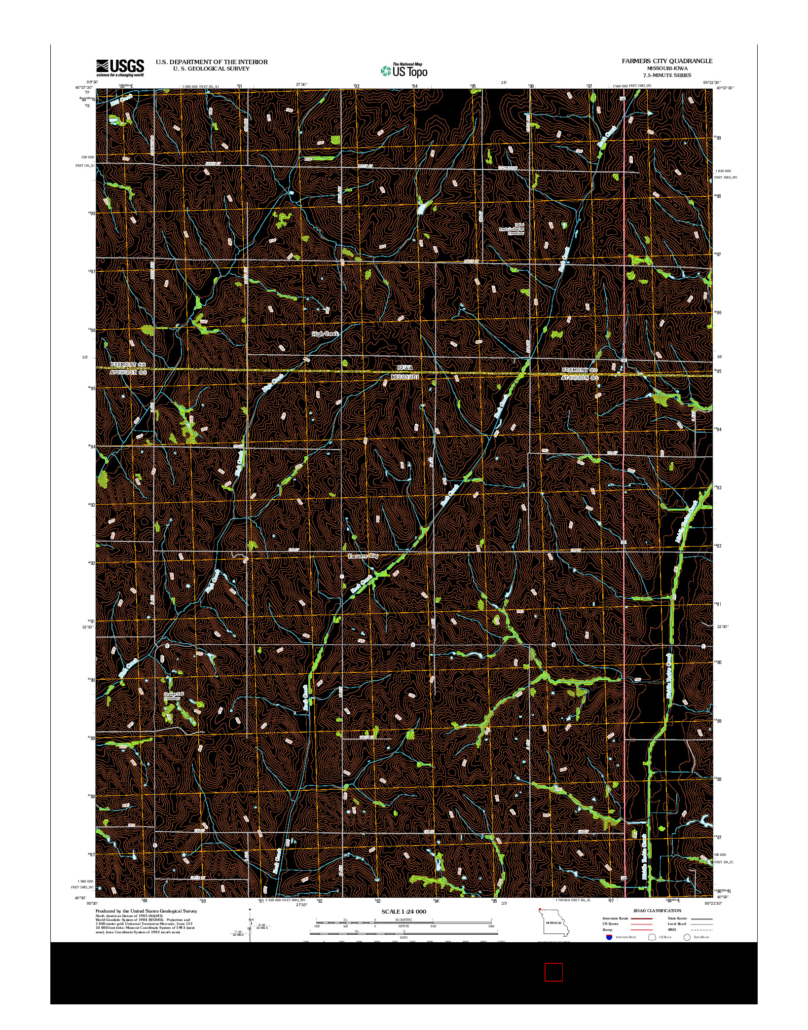 USGS US TOPO 7.5-MINUTE MAP FOR FARMERS CITY, MO-IA 2012