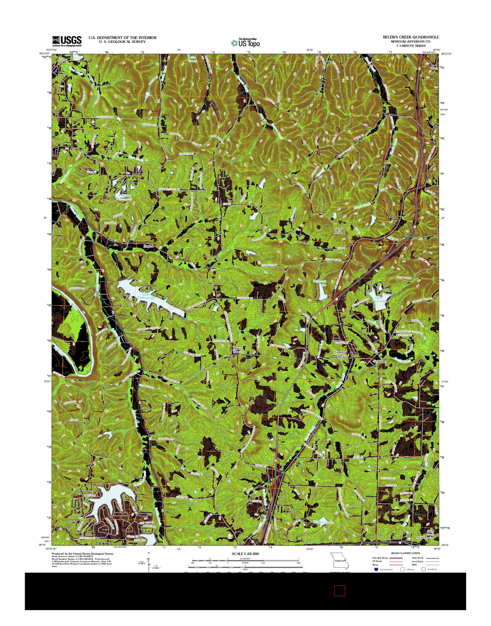 USGS US TOPO 7.5-MINUTE MAP FOR BELEWS CREEK, MO 2012