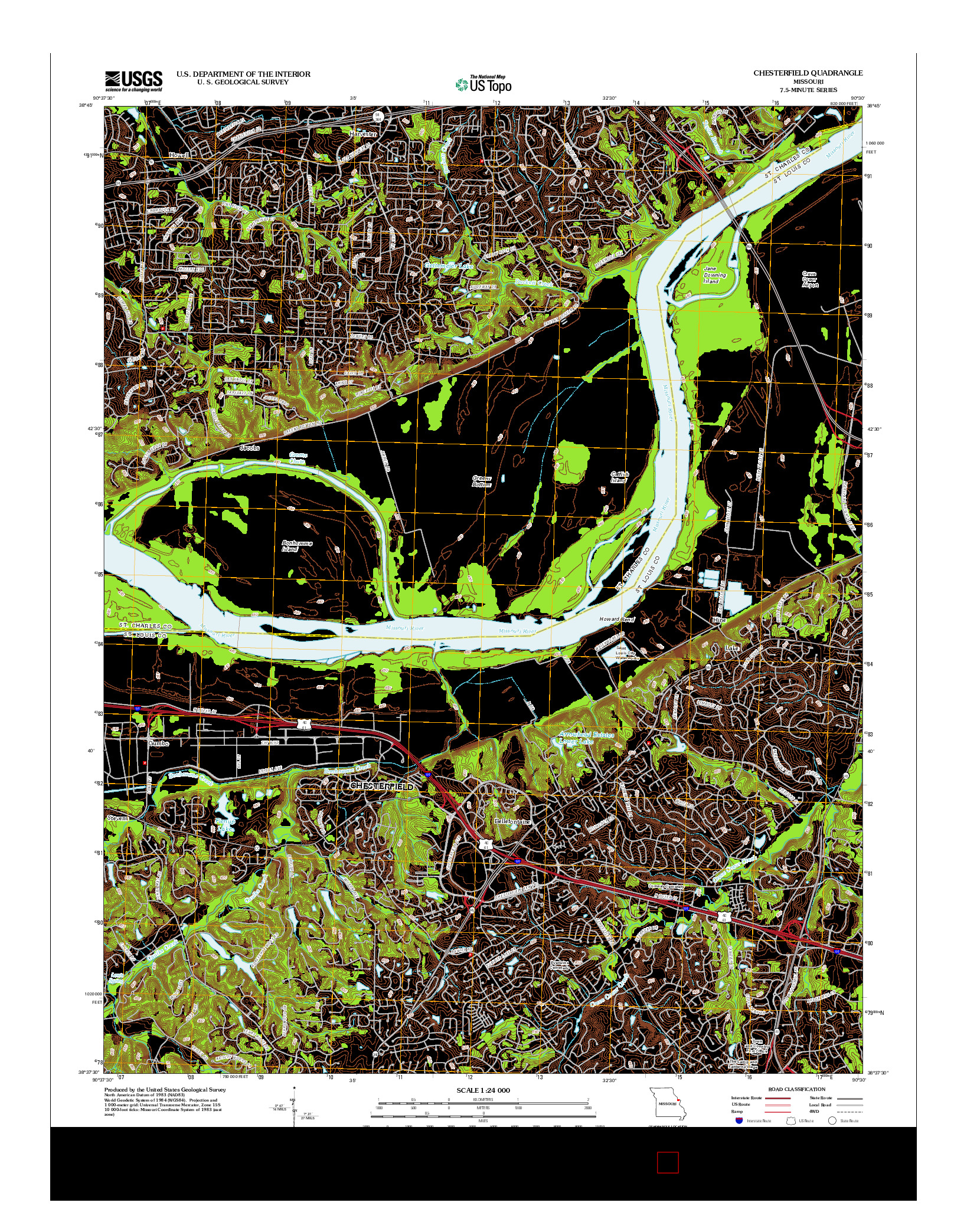 USGS US TOPO 7.5-MINUTE MAP FOR CHESTERFIELD, MO 2012
