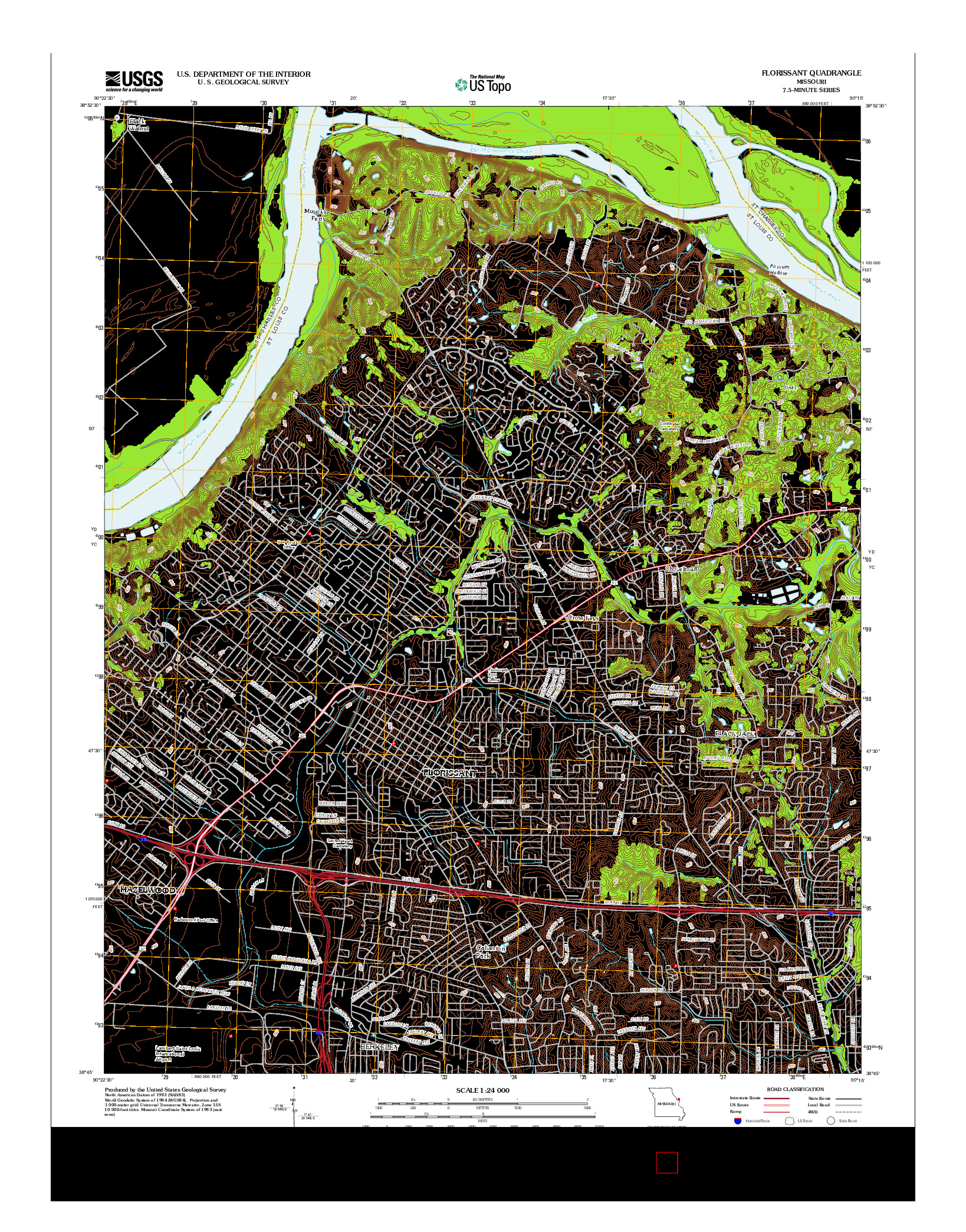 USGS US TOPO 7.5-MINUTE MAP FOR FLORISSANT, MO 2012