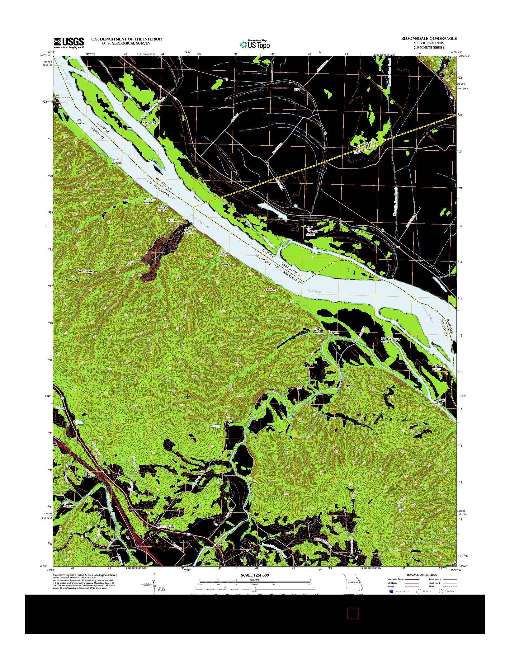 USGS US TOPO 7.5-MINUTE MAP FOR BLOOMSDALE, MO-IL 2012