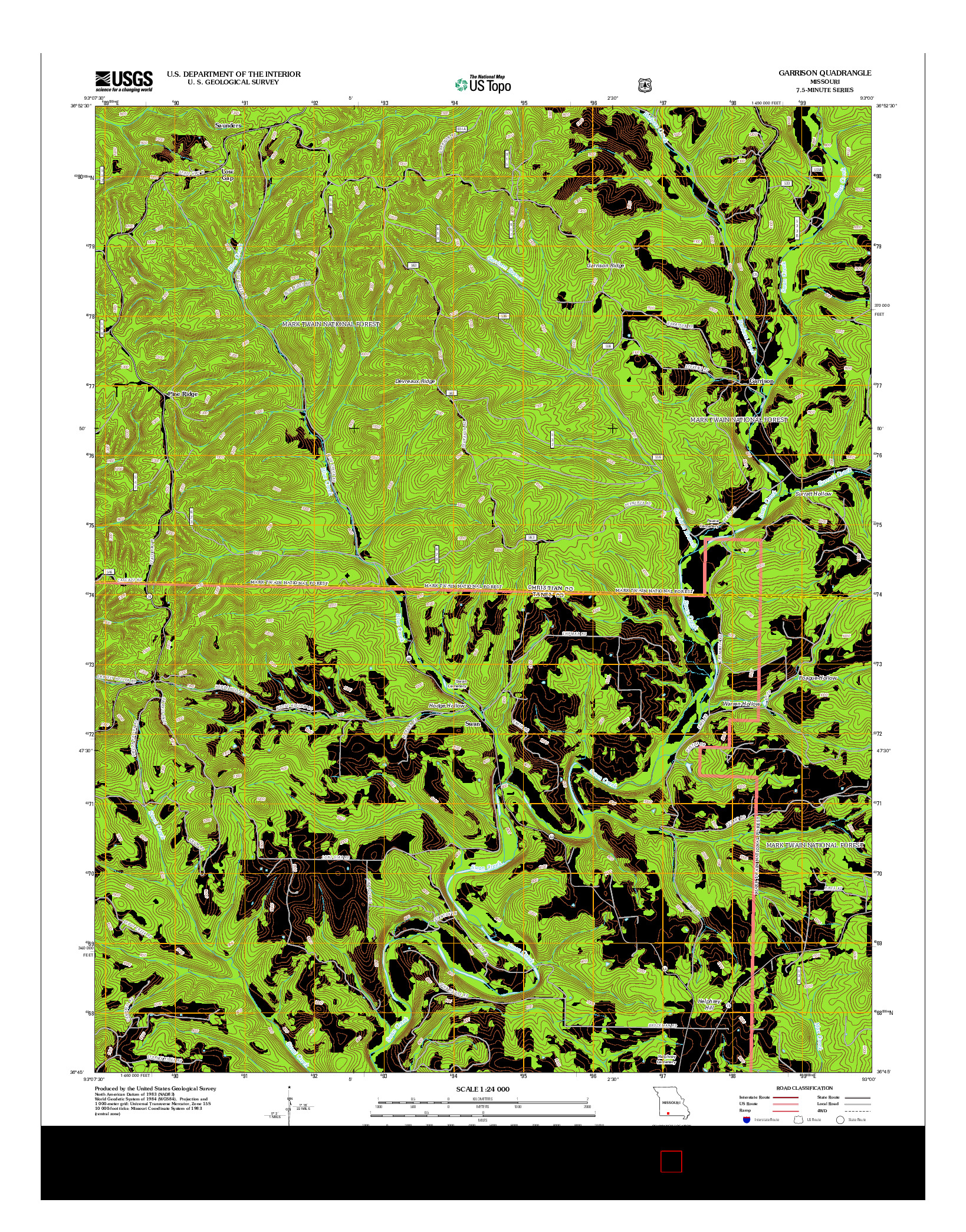 USGS US TOPO 7.5-MINUTE MAP FOR GARRISON, MO 2012