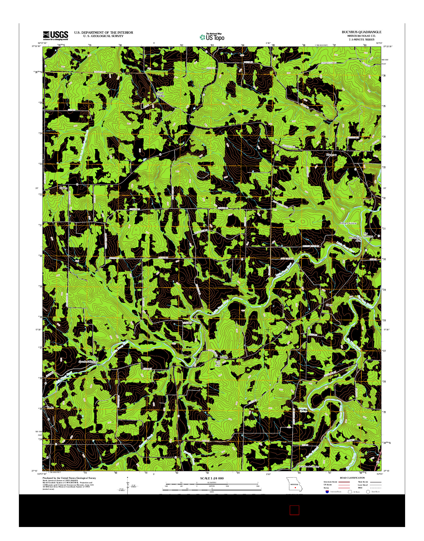 USGS US TOPO 7.5-MINUTE MAP FOR BUCYRUS, MO 2012