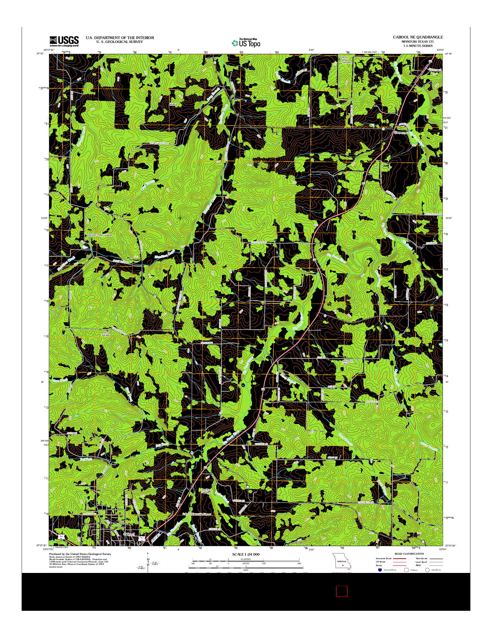 USGS US TOPO 7.5-MINUTE MAP FOR CABOOL NE, MO 2012