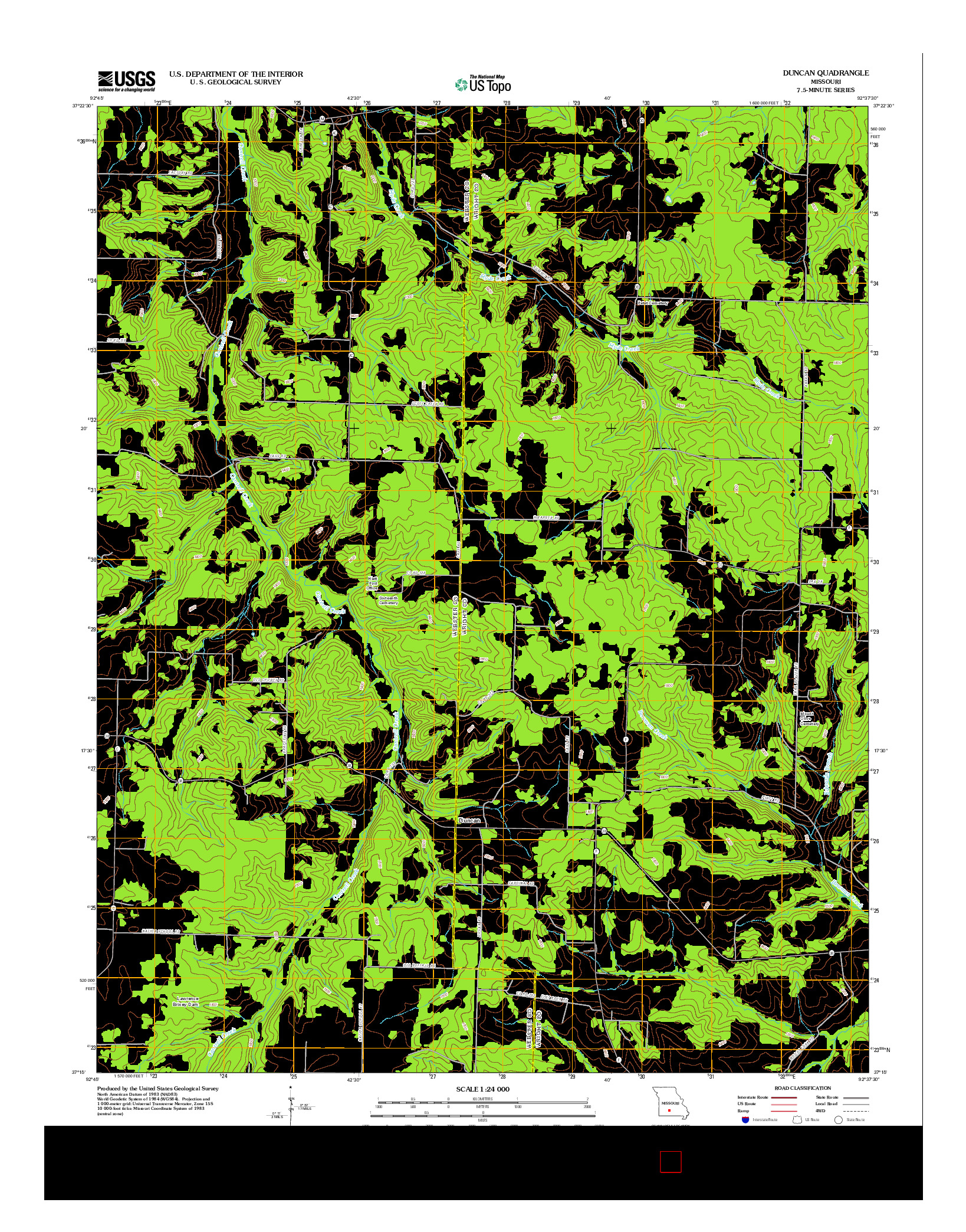 USGS US TOPO 7.5-MINUTE MAP FOR DUNCAN, MO 2012