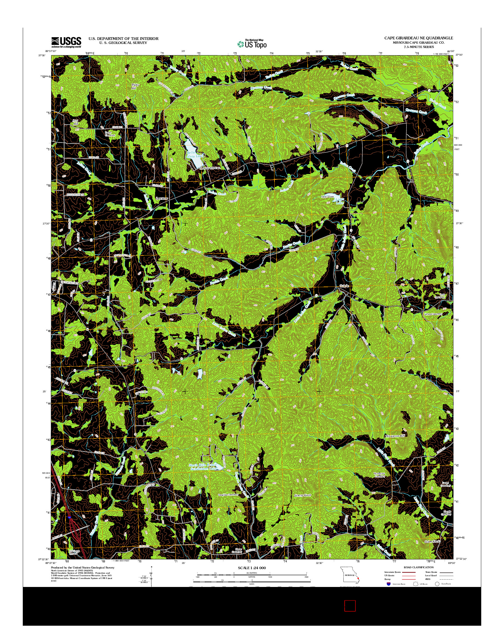 USGS US TOPO 7.5-MINUTE MAP FOR CAPE GIRARDEAU NE, MO 2012