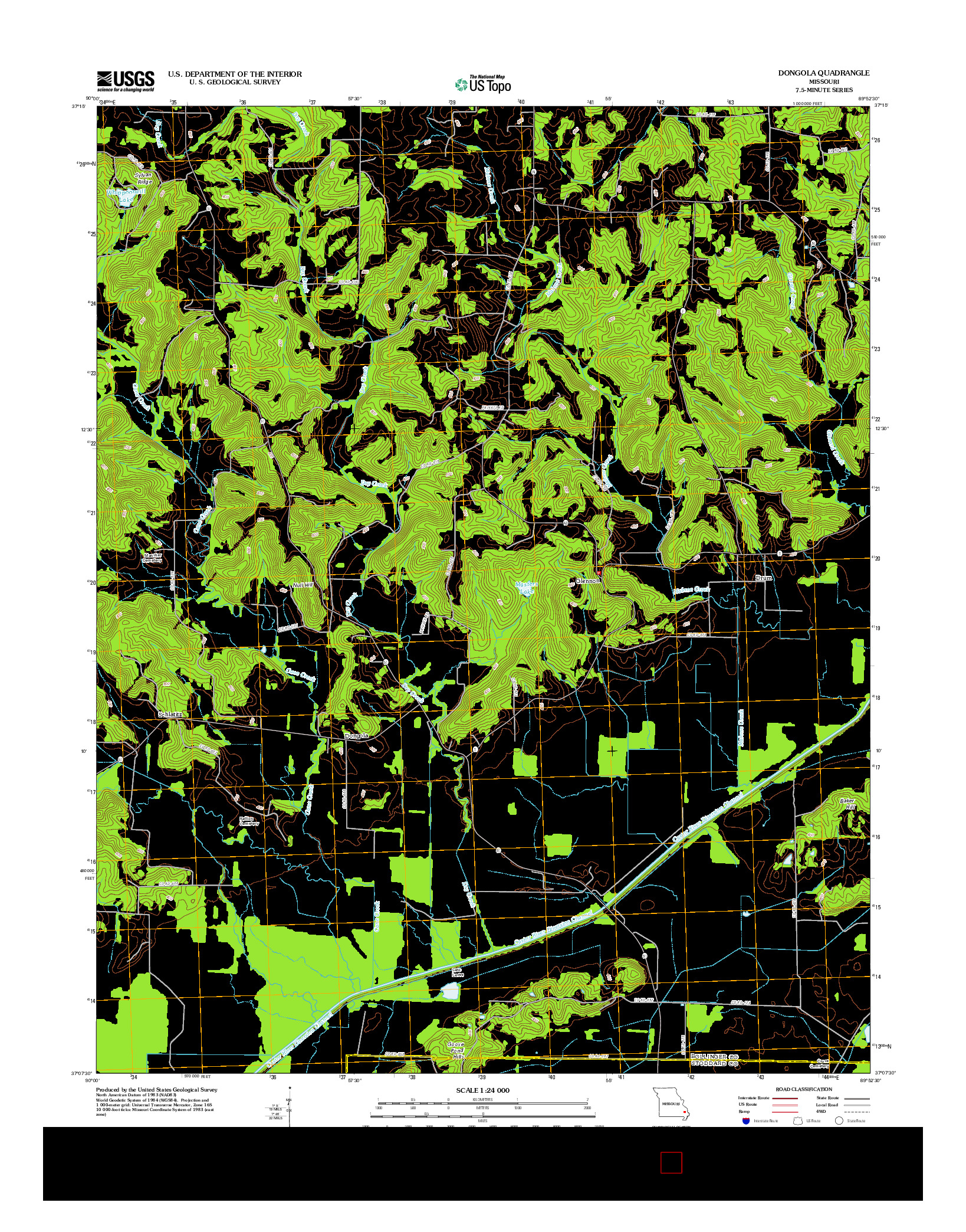 USGS US TOPO 7.5-MINUTE MAP FOR DONGOLA, MO 2012