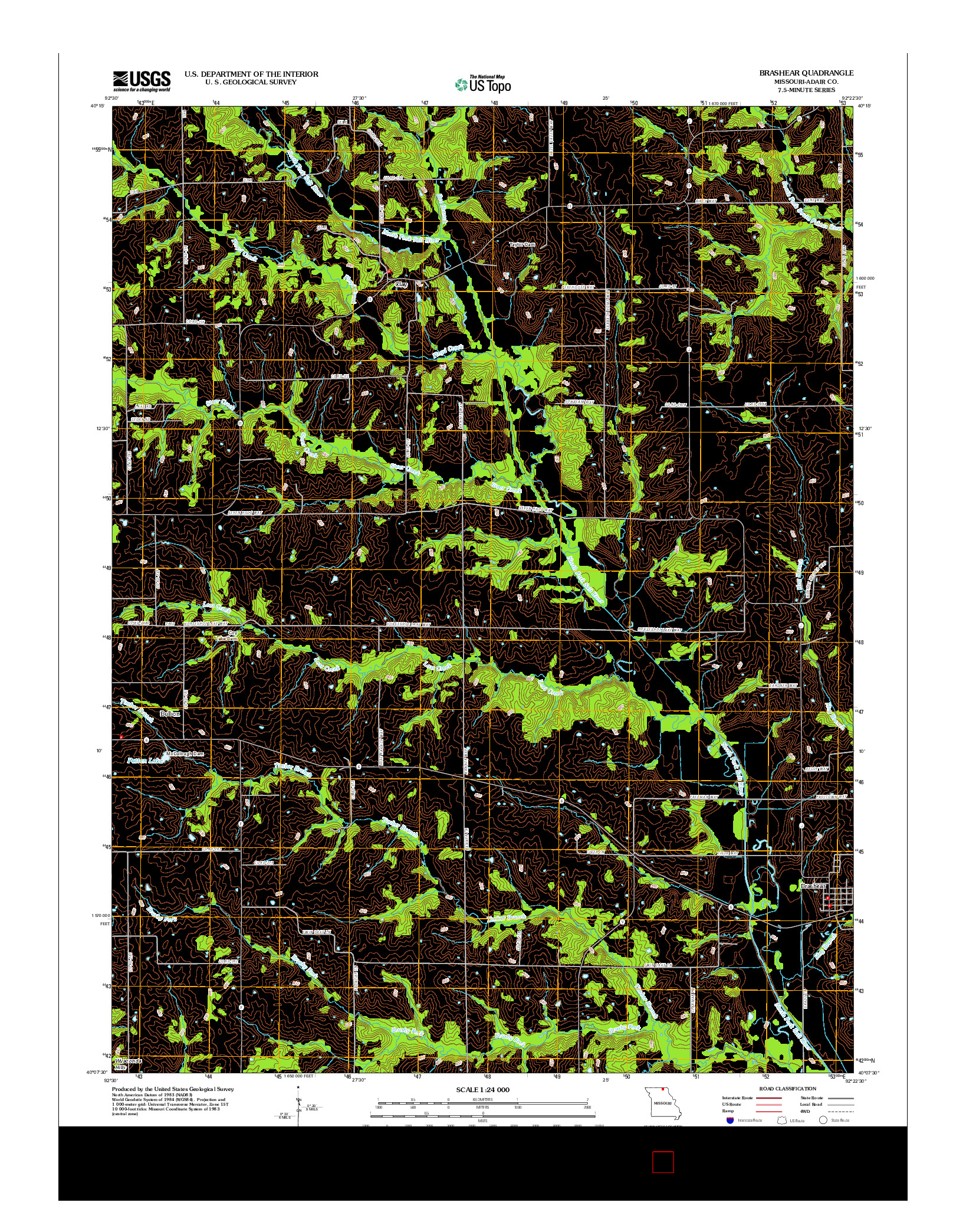USGS US TOPO 7.5-MINUTE MAP FOR BRASHEAR, MO 2012