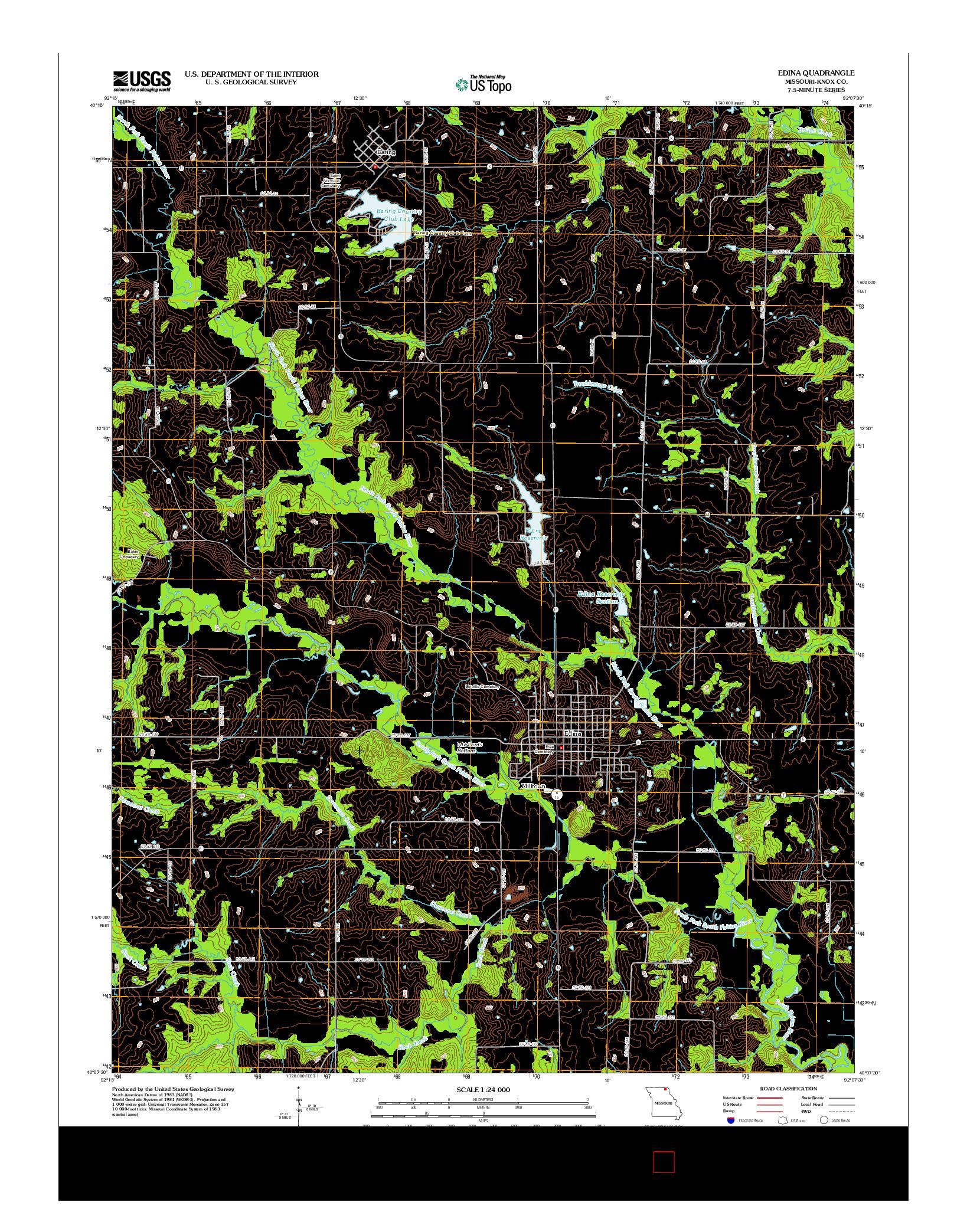 USGS US TOPO 7.5-MINUTE MAP FOR EDINA, MO 2012