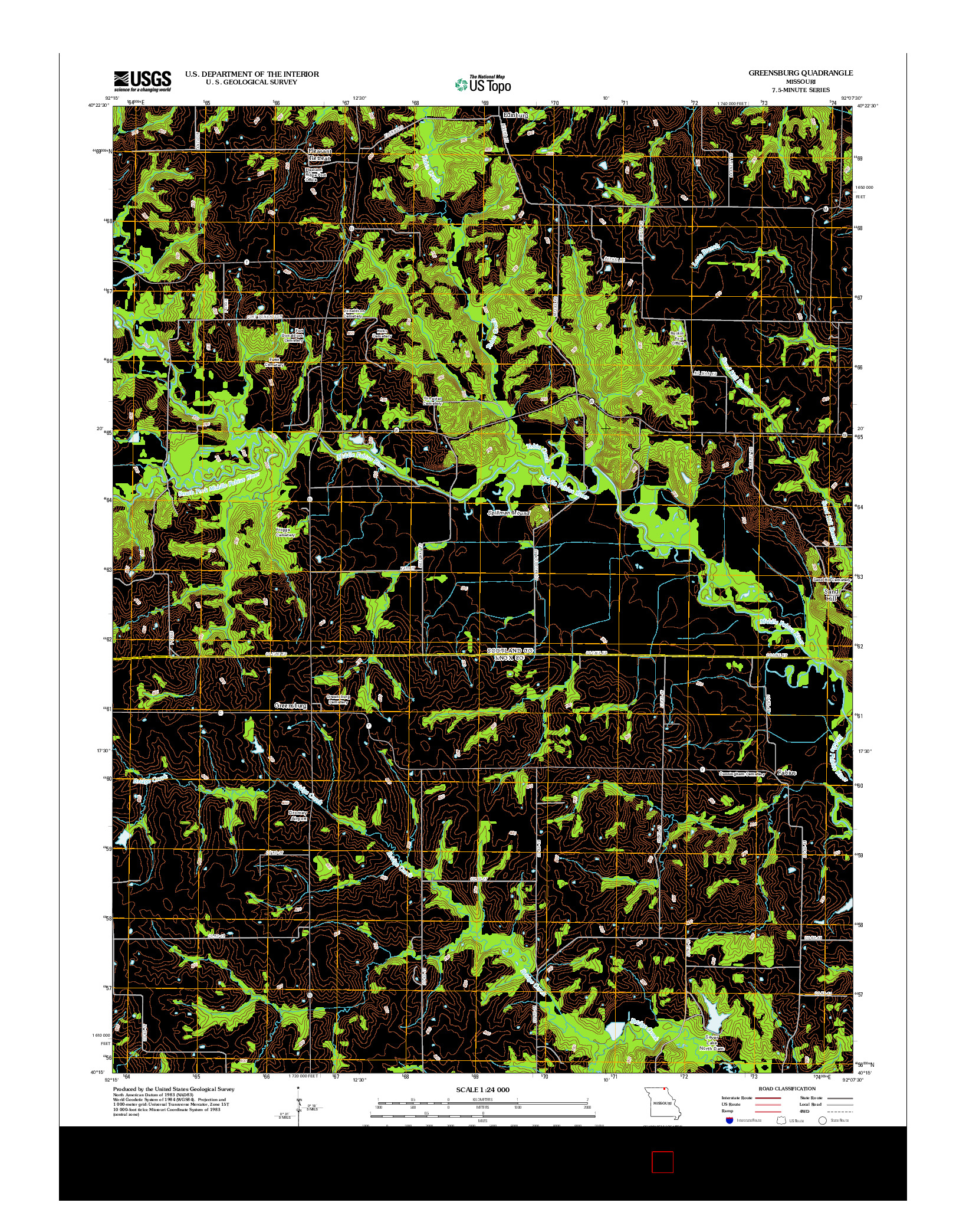 USGS US TOPO 7.5-MINUTE MAP FOR GREENSBURG, MO 2012
