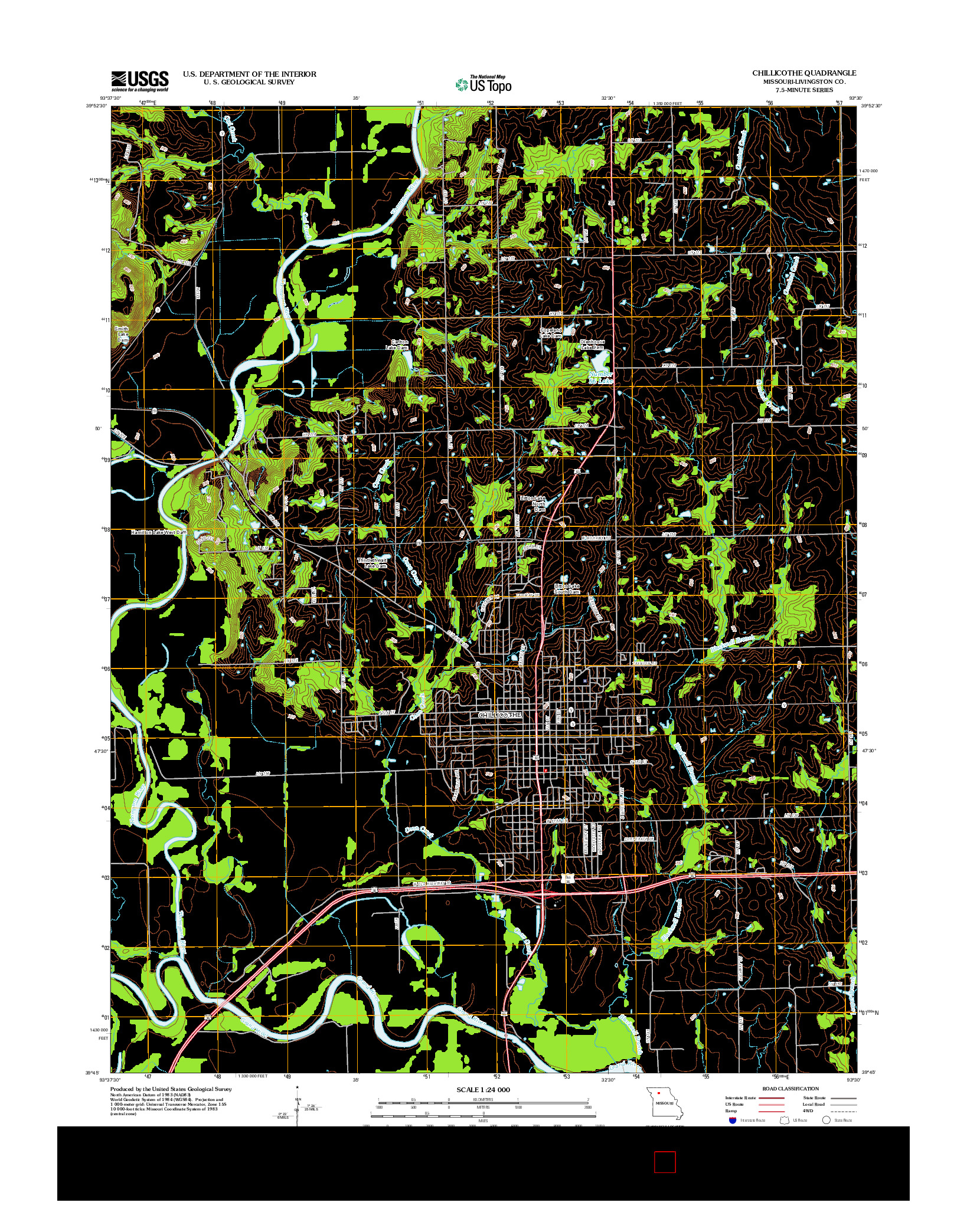 USGS US TOPO 7.5-MINUTE MAP FOR CHILLICOTHE, MO 2012