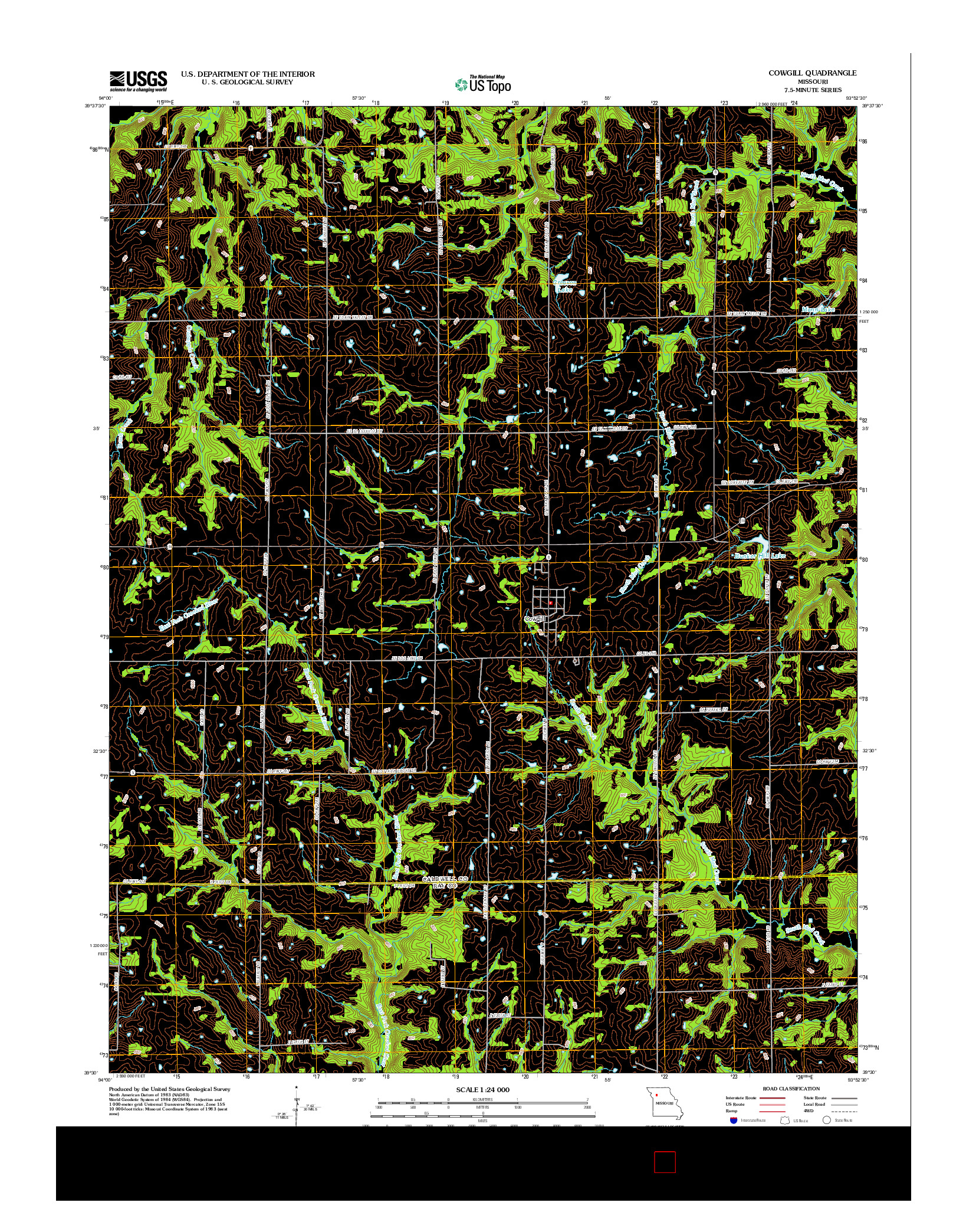 USGS US TOPO 7.5-MINUTE MAP FOR COWGILL, MO 2012