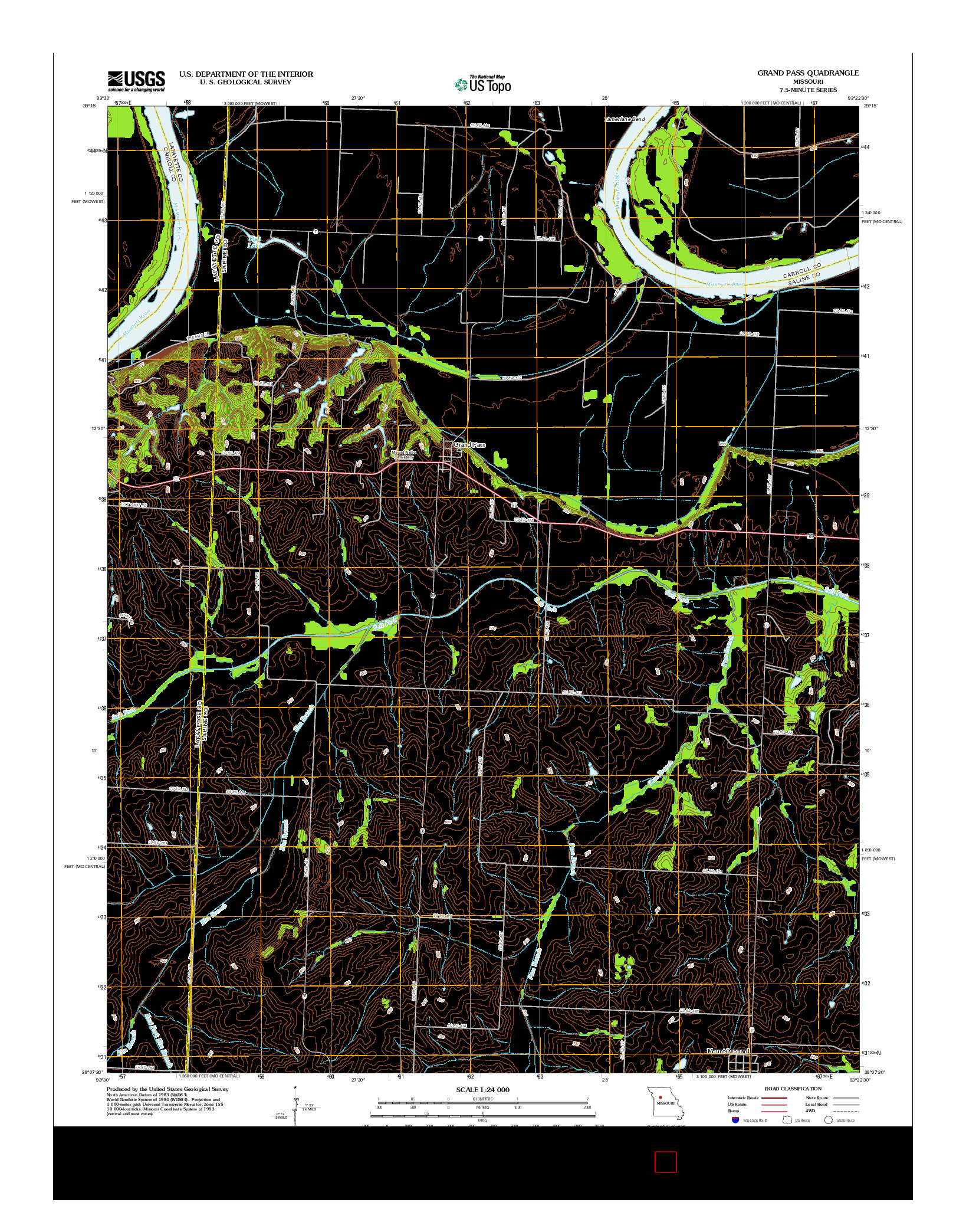 USGS US TOPO 7.5-MINUTE MAP FOR GRAND PASS, MO 2012