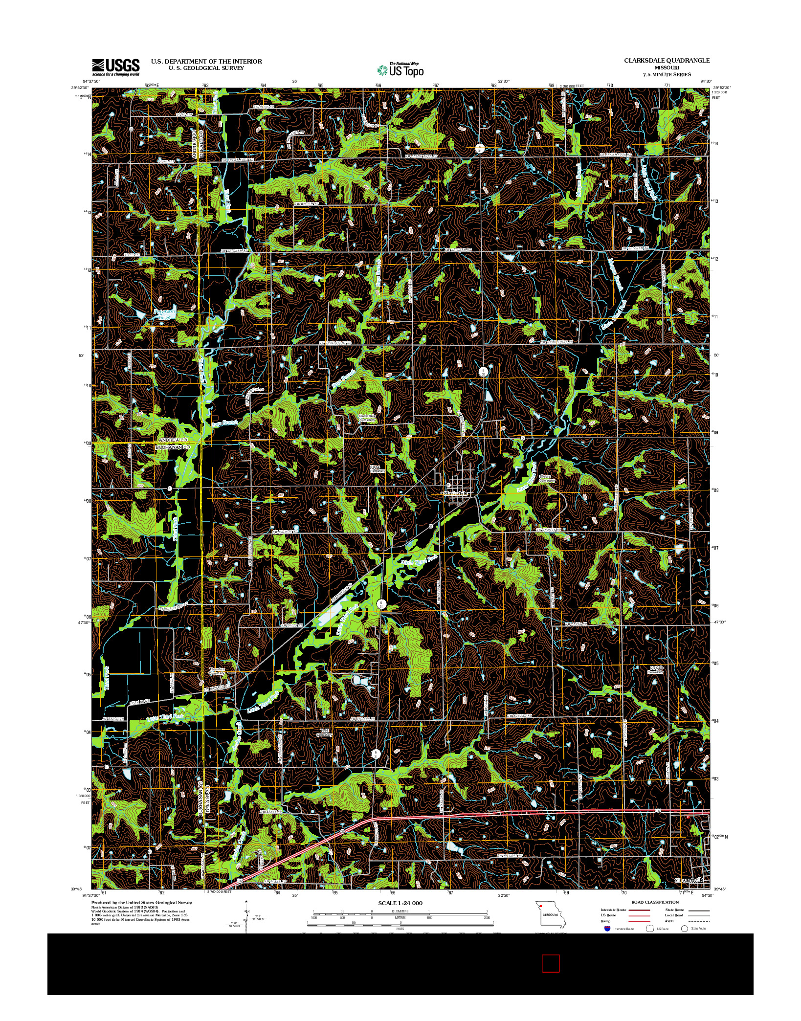USGS US TOPO 7.5-MINUTE MAP FOR CLARKSDALE, MO 2012