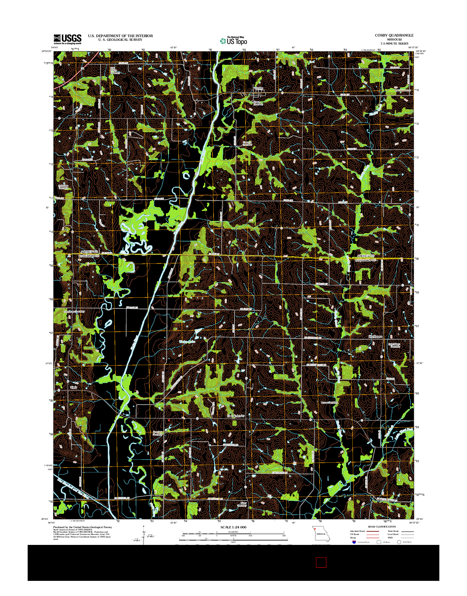 USGS US TOPO 7.5-MINUTE MAP FOR COSBY, MO 2012