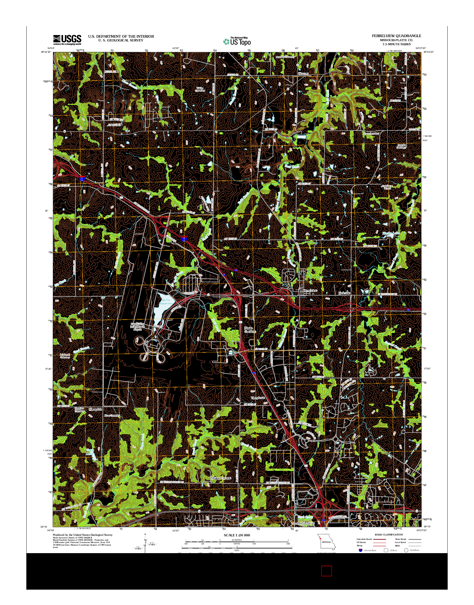 USGS US TOPO 7.5-MINUTE MAP FOR FERRELVIEW, MO 2012