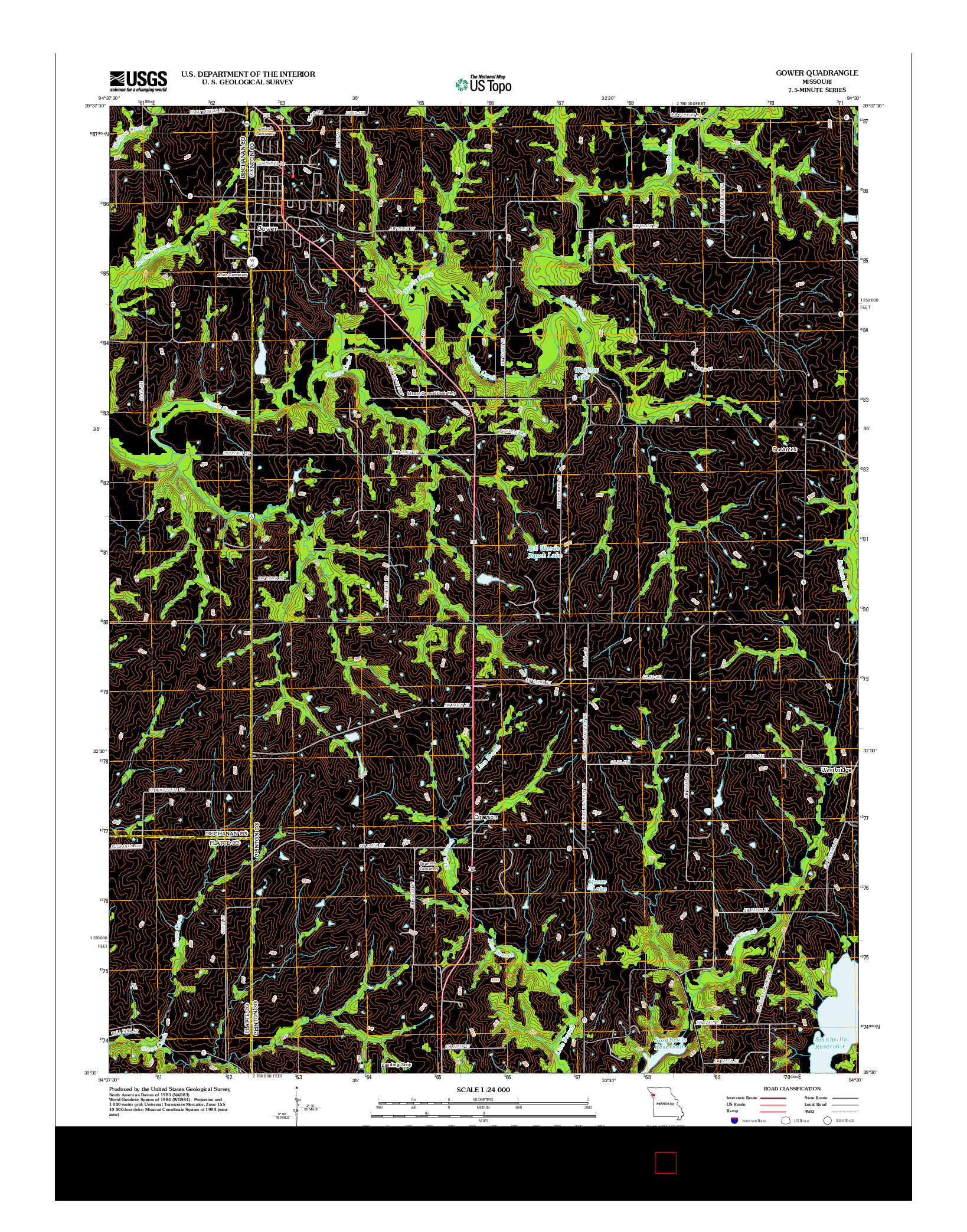 USGS US TOPO 7.5-MINUTE MAP FOR GOWER, MO 2012