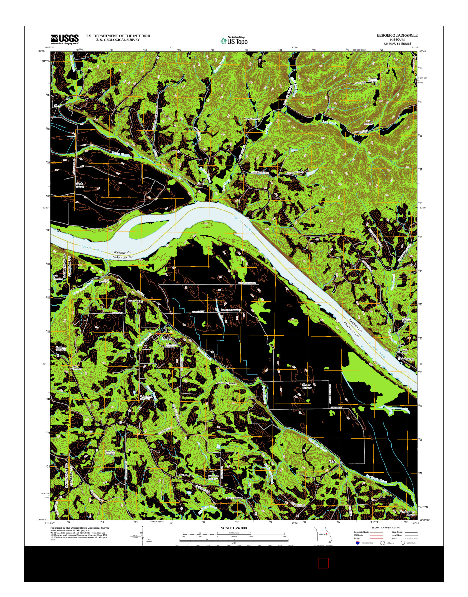 USGS US TOPO 7.5-MINUTE MAP FOR BERGER, MO 2012