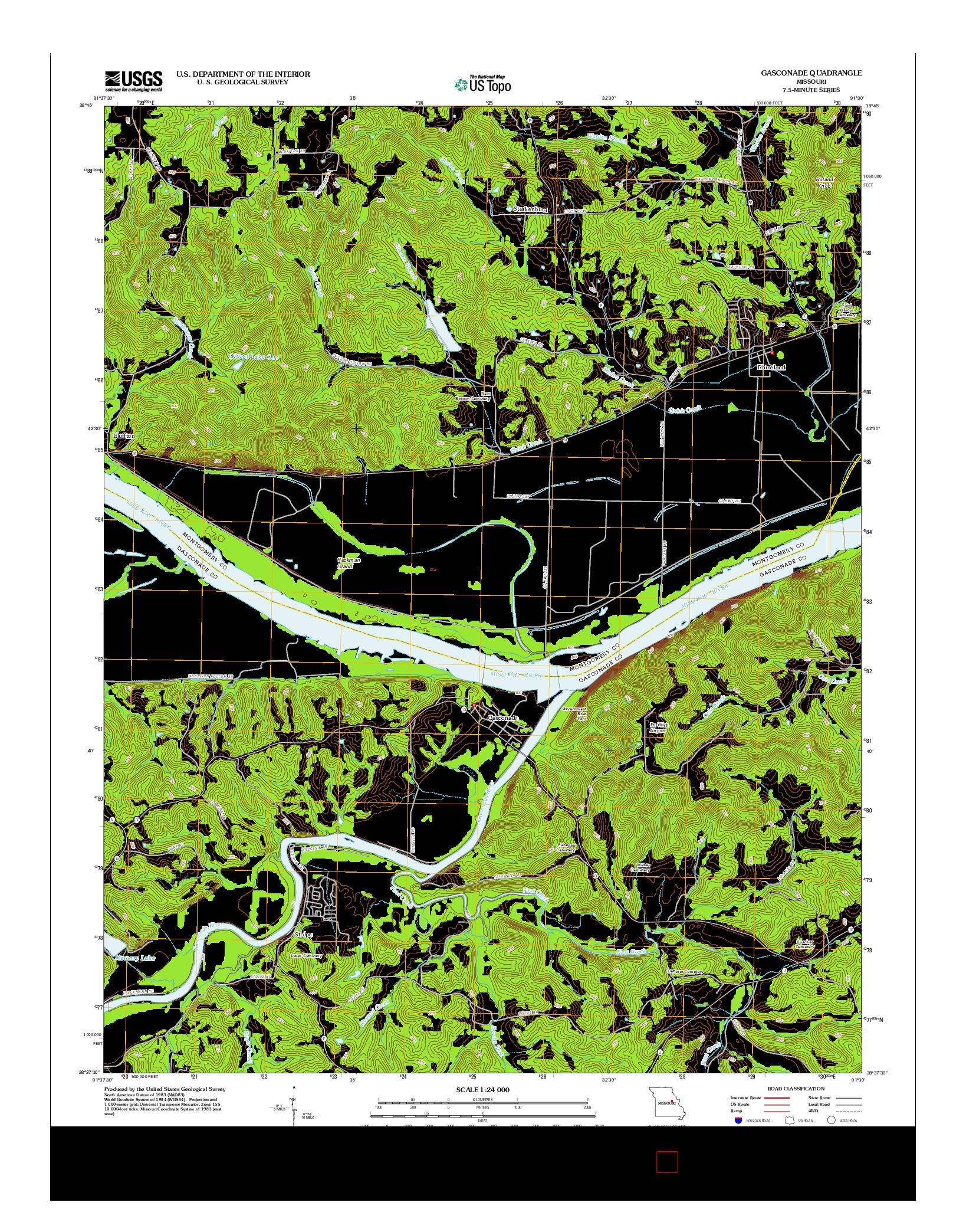 USGS US TOPO 7.5-MINUTE MAP FOR GASCONADE, MO 2012