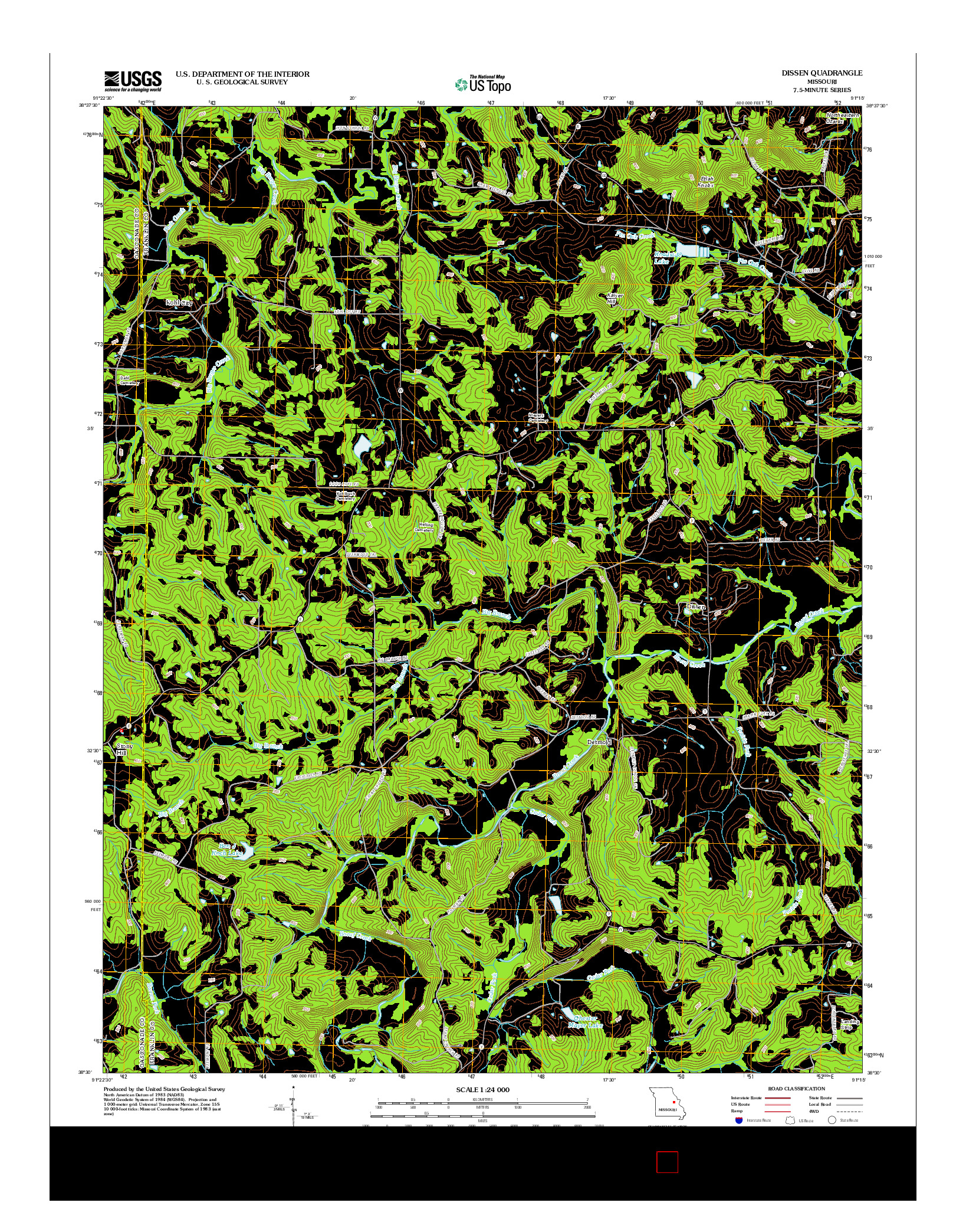 USGS US TOPO 7.5-MINUTE MAP FOR DISSEN, MO 2012