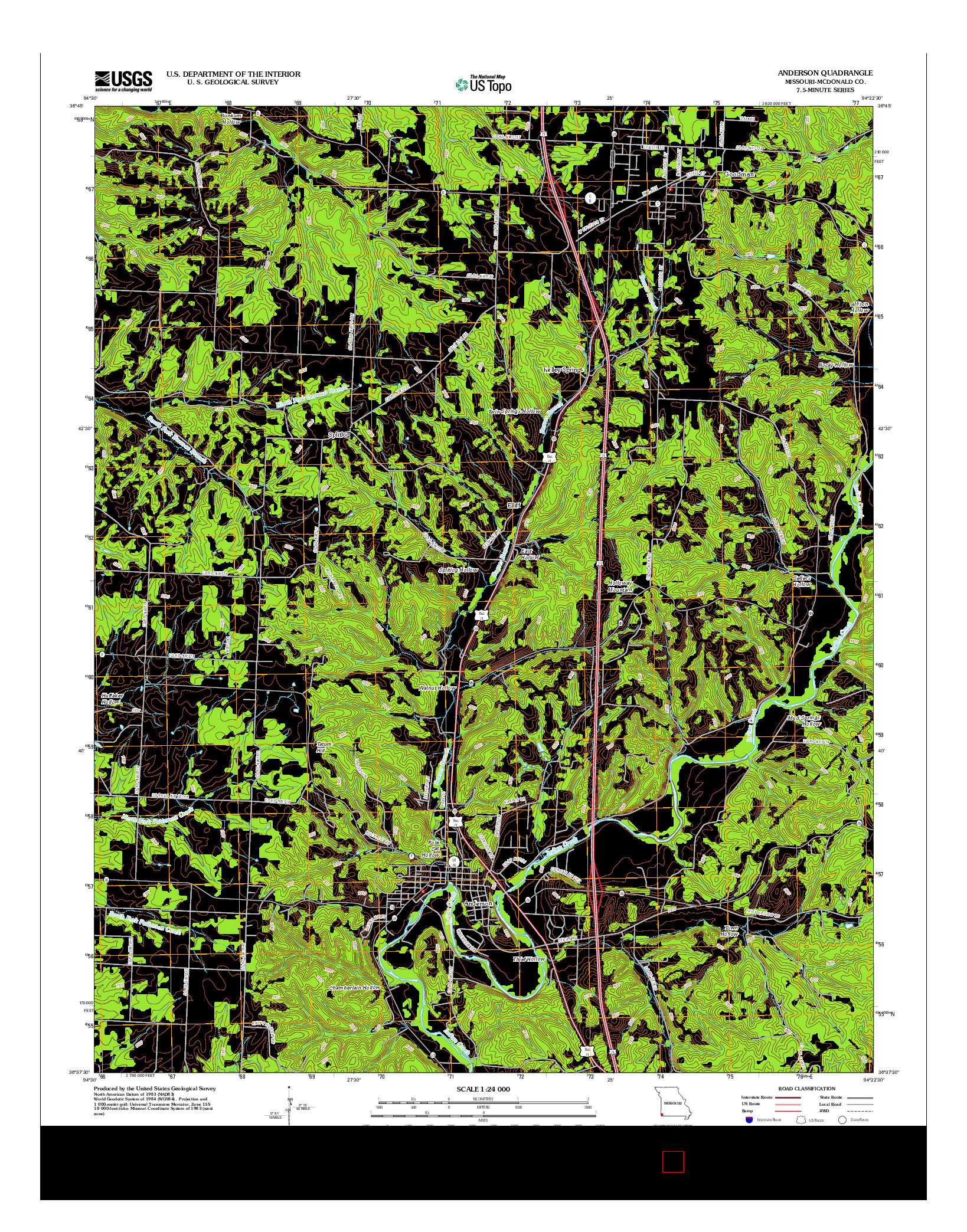 USGS US TOPO 7.5-MINUTE MAP FOR ANDERSON, MO 2012