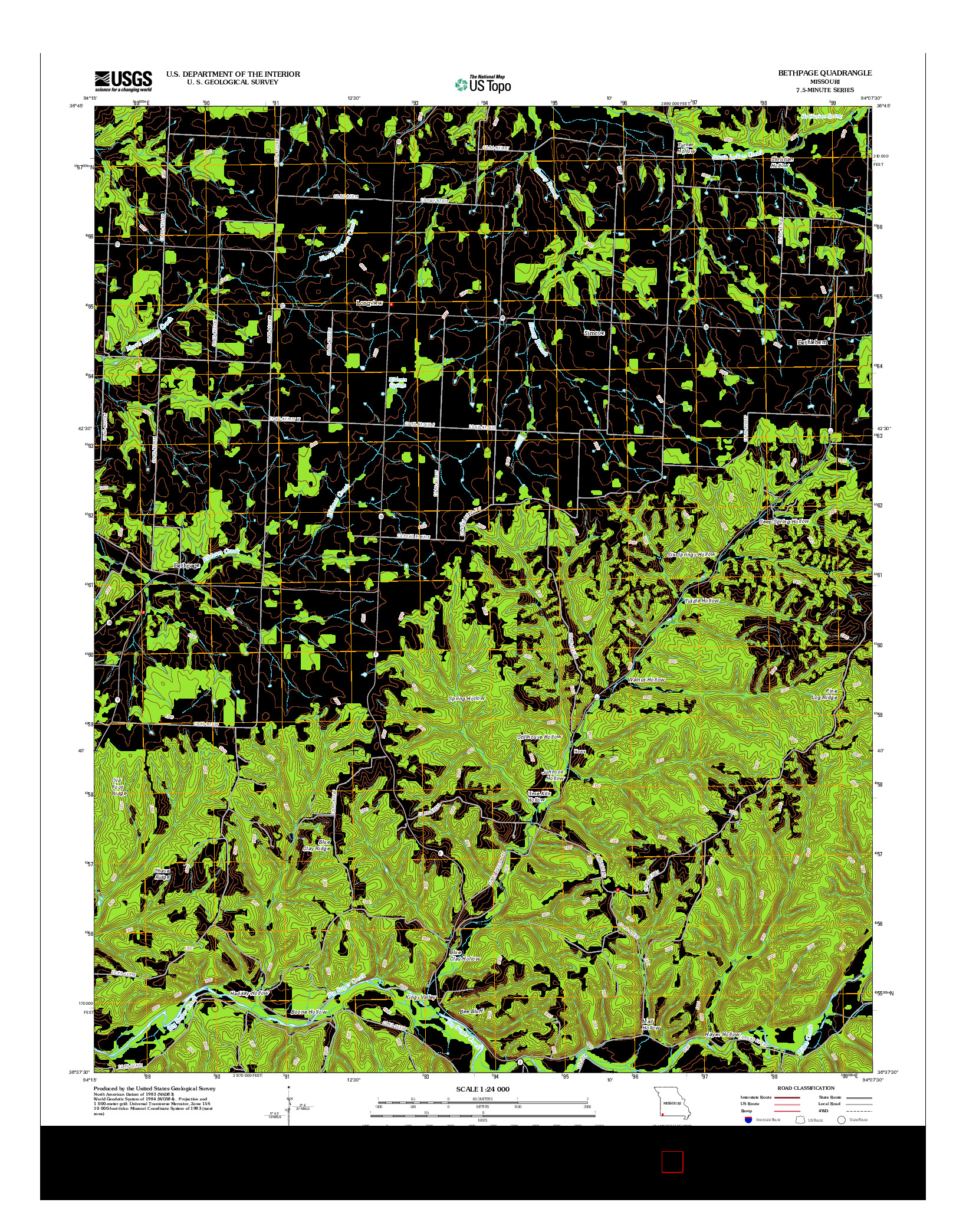 USGS US TOPO 7.5-MINUTE MAP FOR BETHPAGE, MO 2012