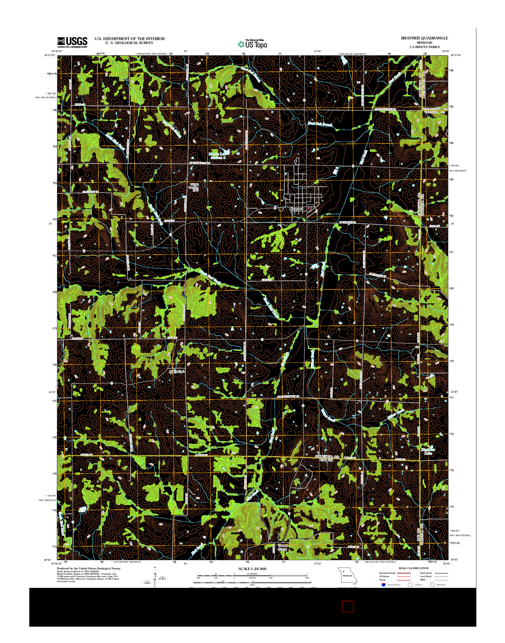 USGS US TOPO 7.5-MINUTE MAP FOR BRAYMER, MO 2012