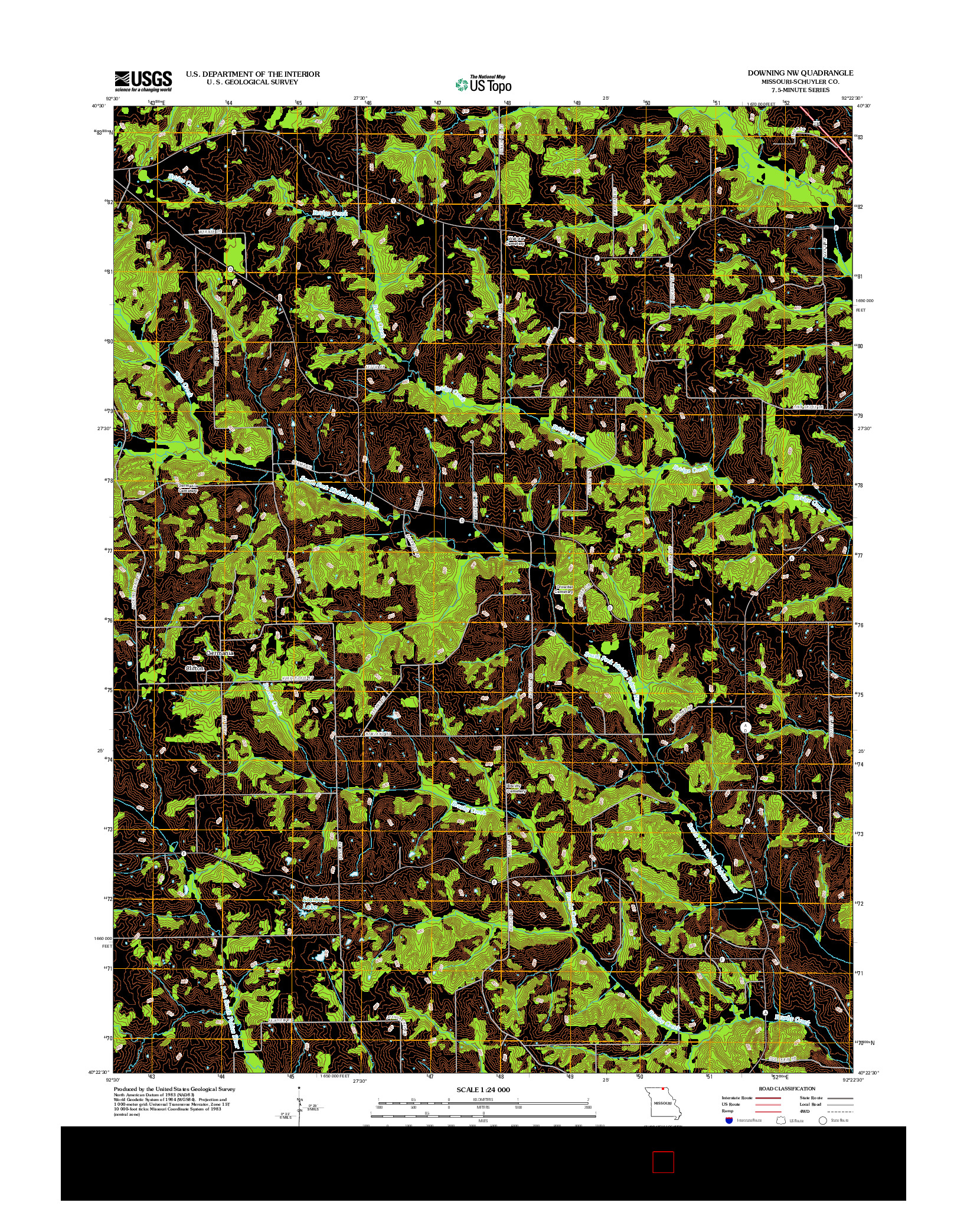 USGS US TOPO 7.5-MINUTE MAP FOR DOWNING NW, MO 2012