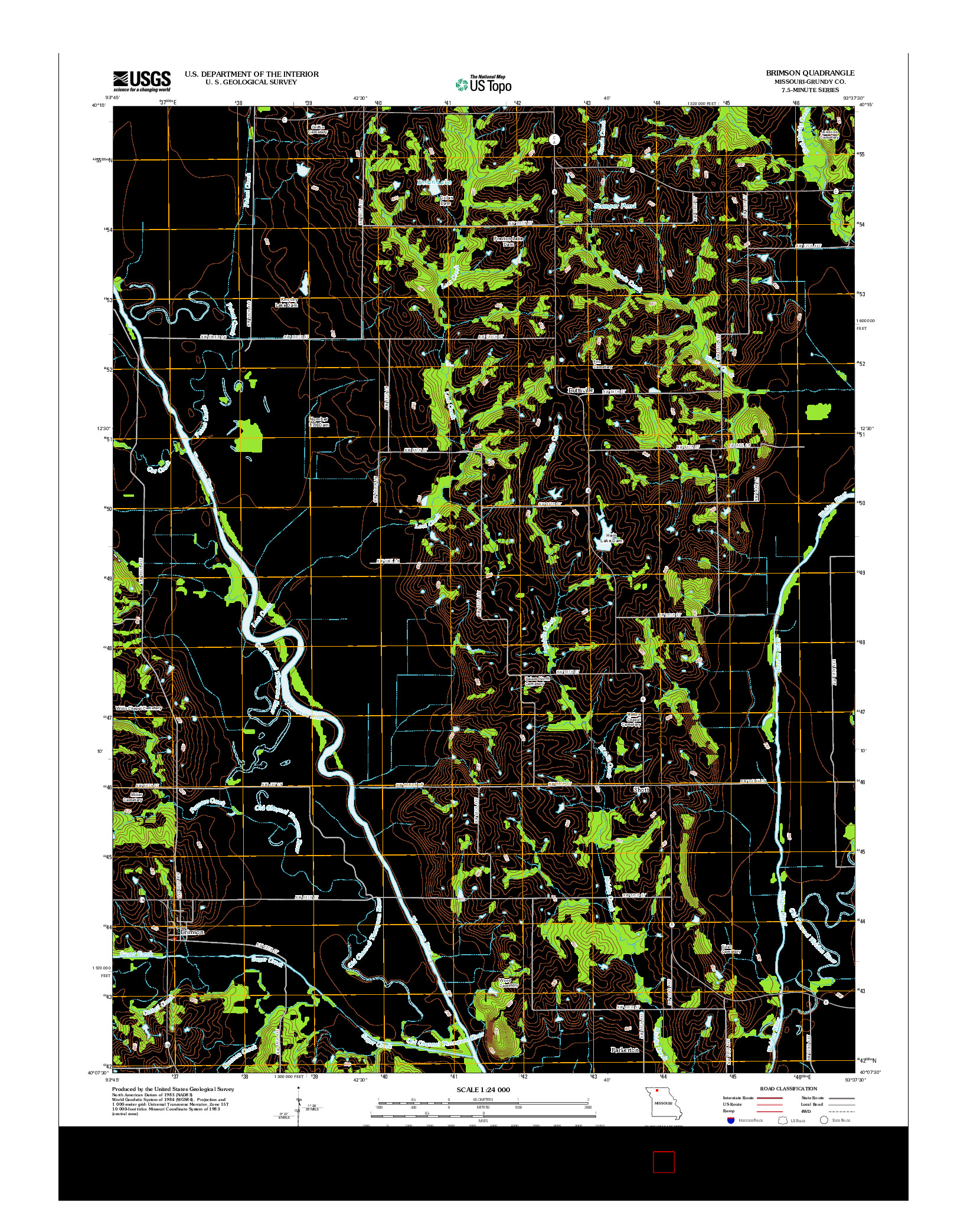 USGS US TOPO 7.5-MINUTE MAP FOR BRIMSON, MO 2012