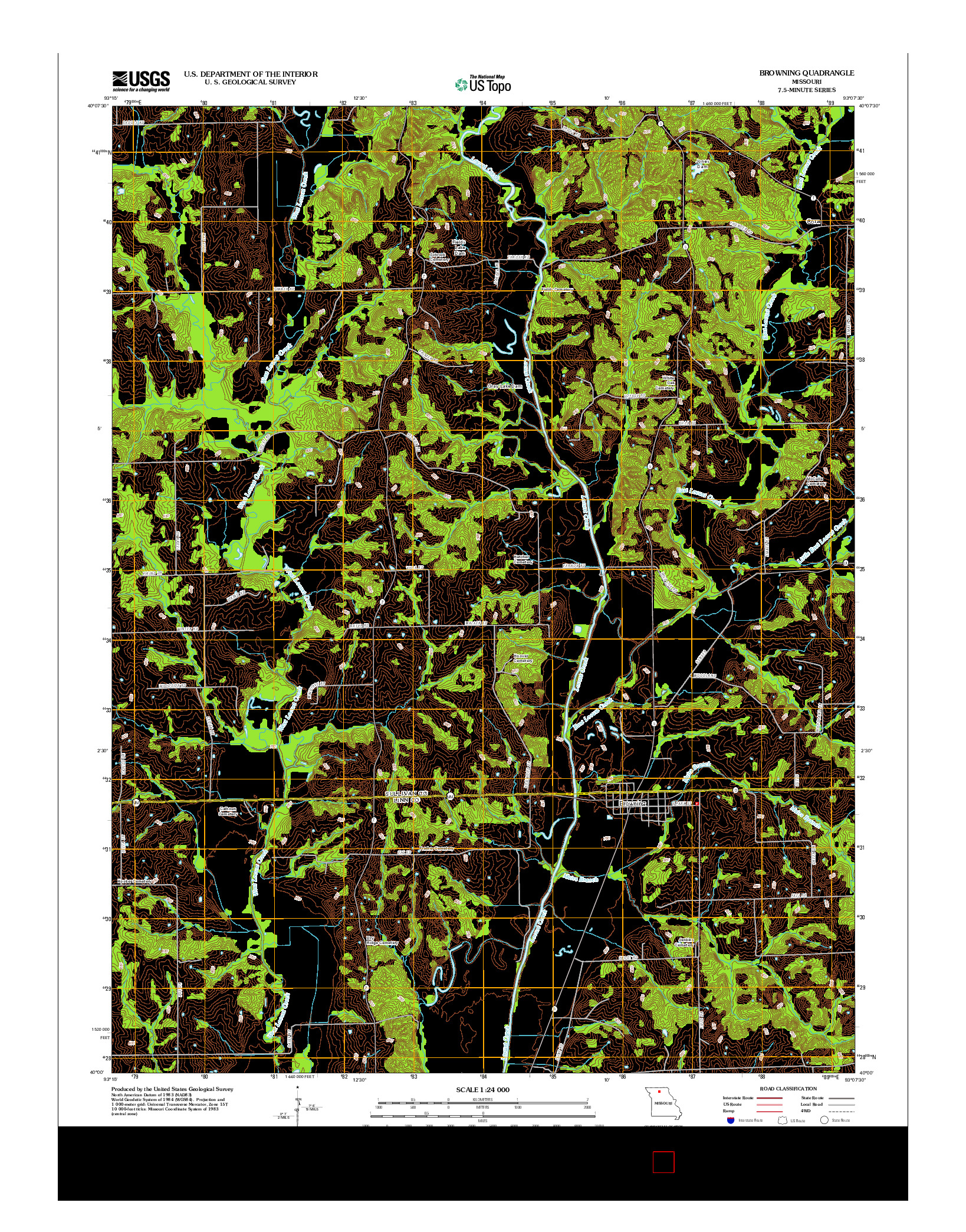 USGS US TOPO 7.5-MINUTE MAP FOR BROWNING, MO 2012