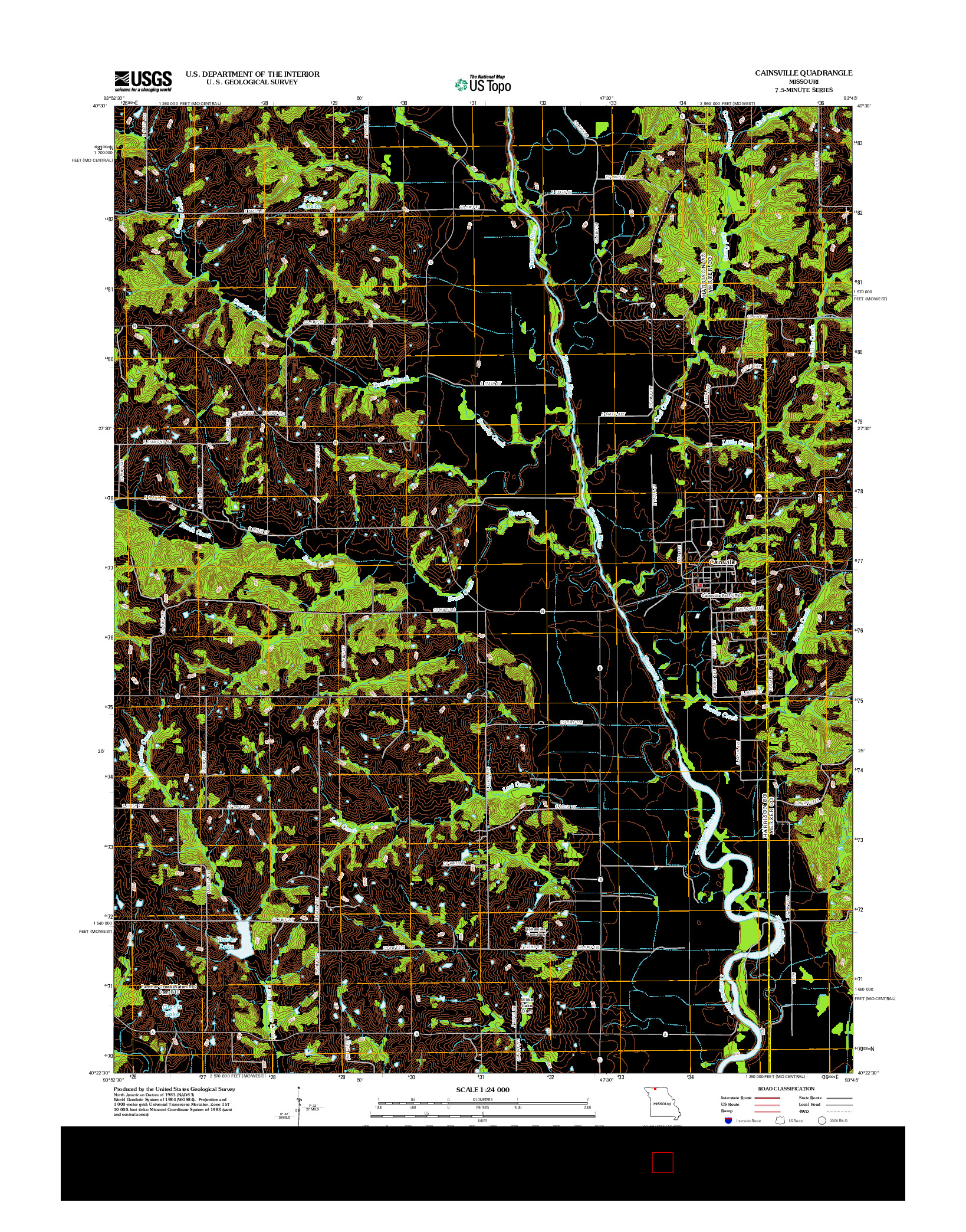 USGS US TOPO 7.5-MINUTE MAP FOR CAINSVILLE, MO 2012