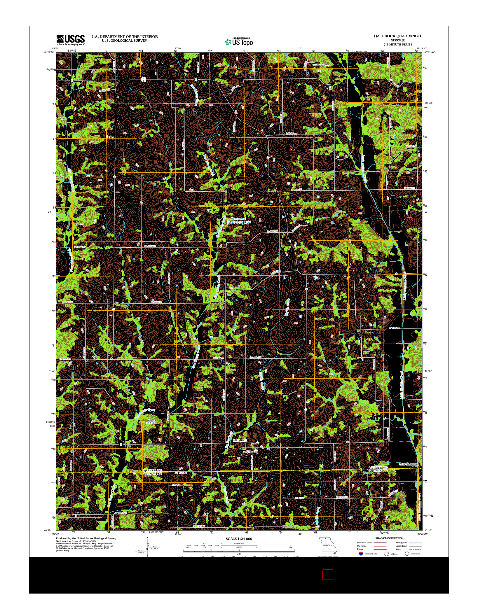 USGS US TOPO 7.5-MINUTE MAP FOR HALF ROCK, MO 2012