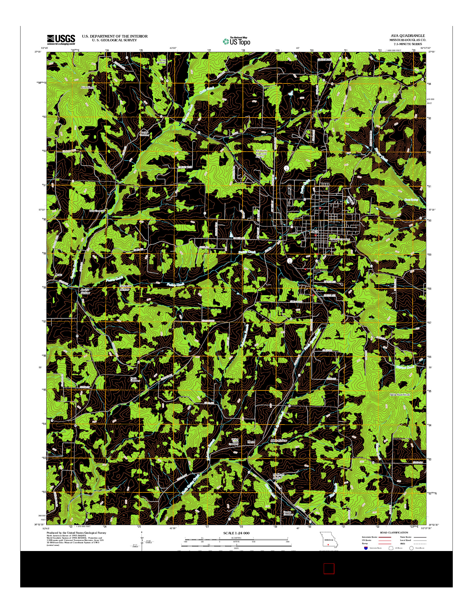 USGS US TOPO 7.5-MINUTE MAP FOR AVA, MO 2012