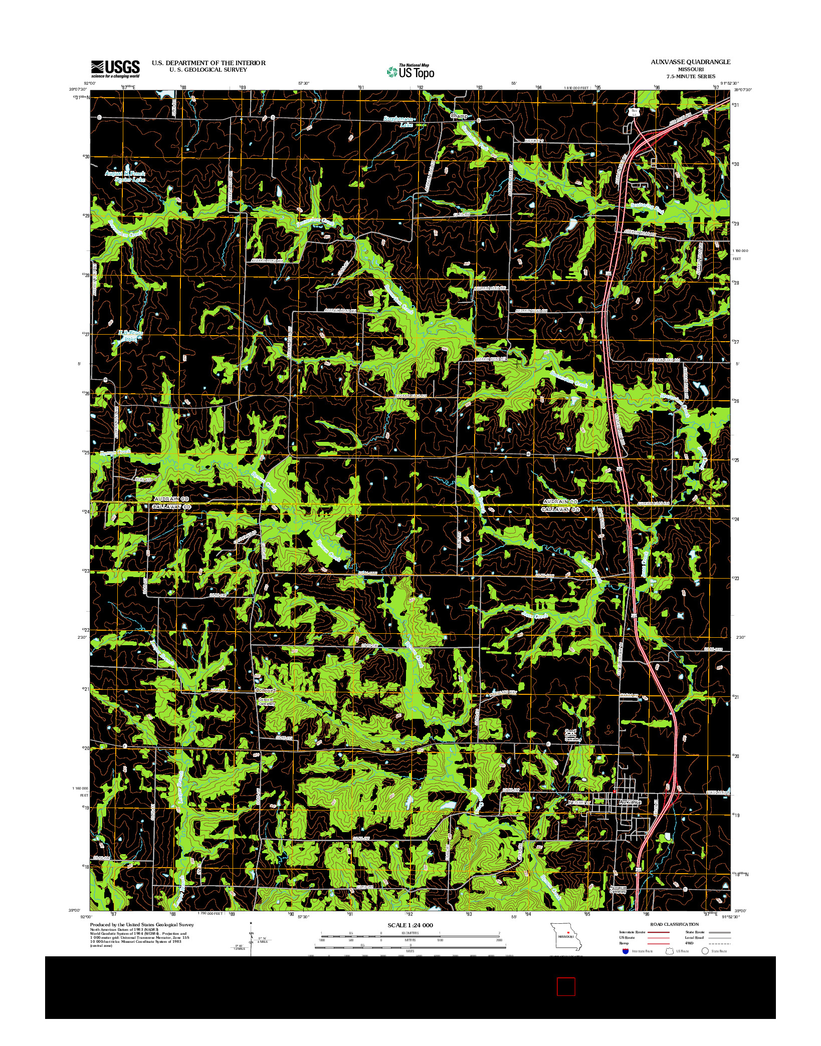 USGS US TOPO 7.5-MINUTE MAP FOR AUXVASSE, MO 2012