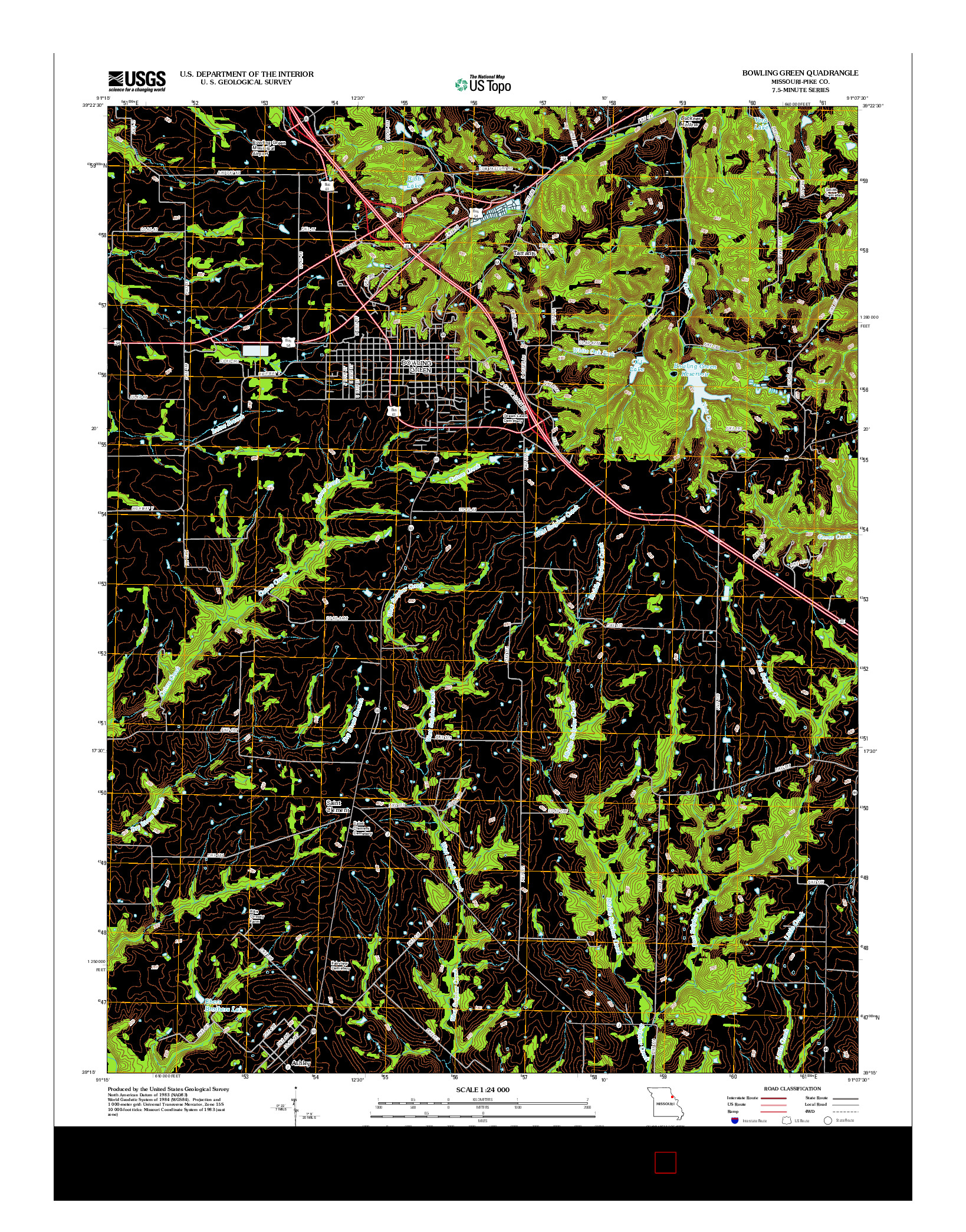 USGS US TOPO 7.5-MINUTE MAP FOR BOWLING GREEN, MO 2012