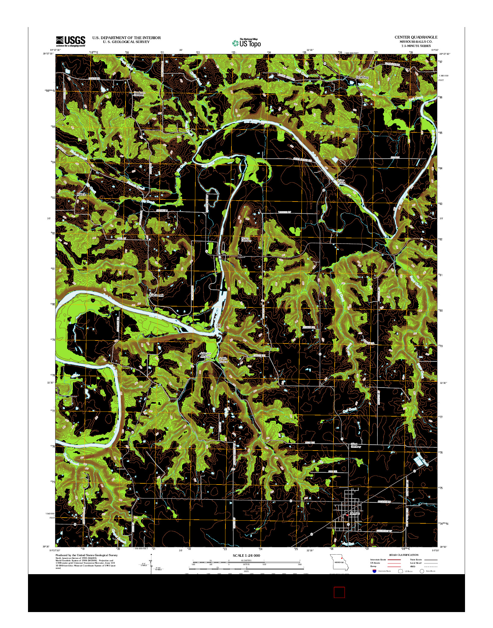 USGS US TOPO 7.5-MINUTE MAP FOR CENTER, MO 2012