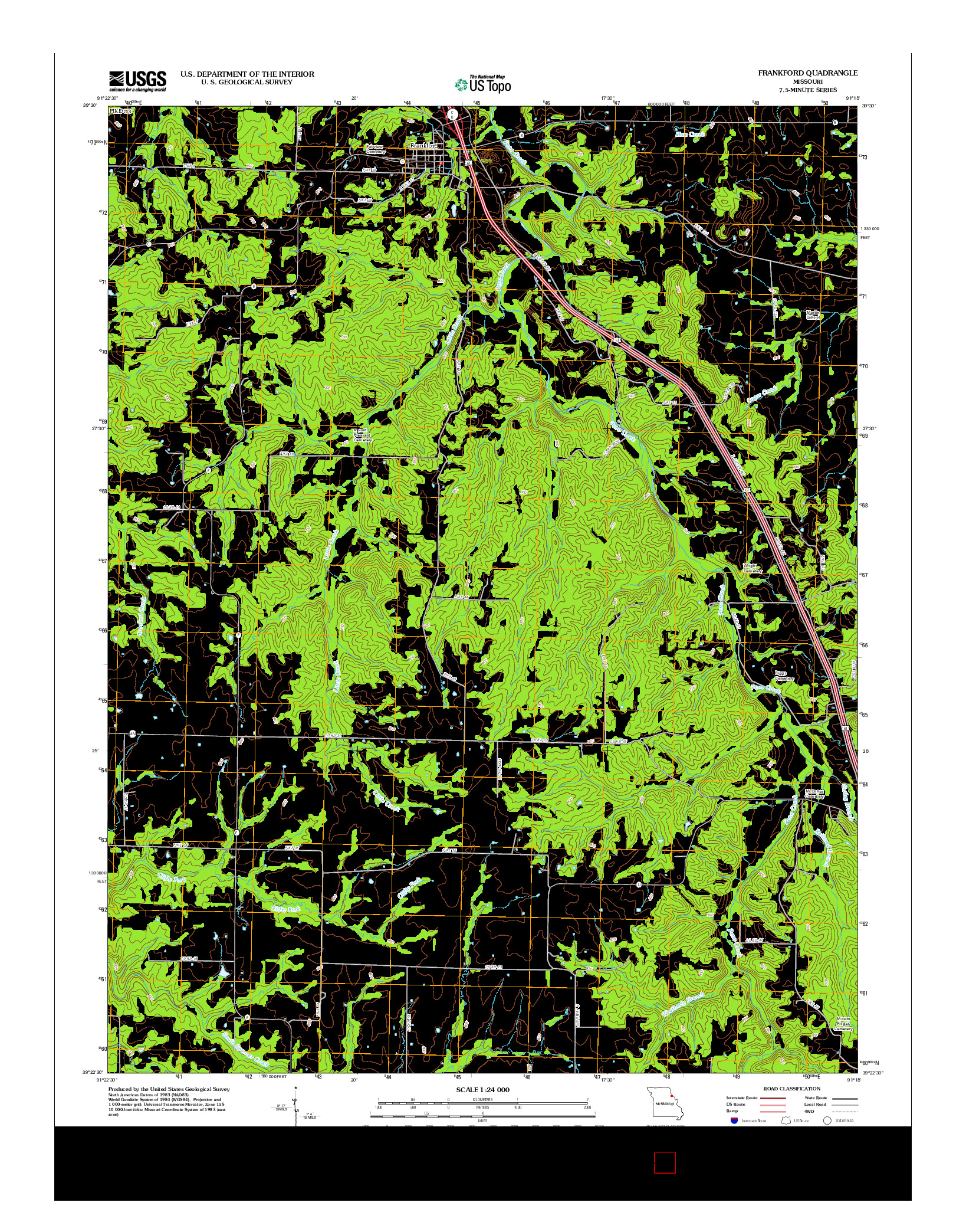 USGS US TOPO 7.5-MINUTE MAP FOR FRANKFORD, MO 2012