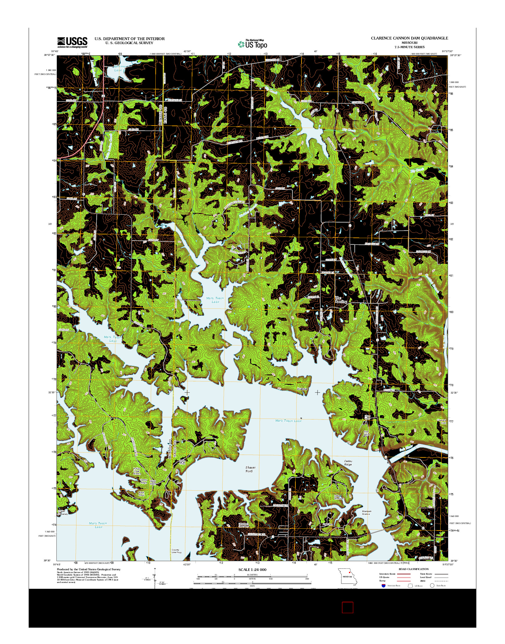 USGS US TOPO 7.5-MINUTE MAP FOR CLARENCE CANNON DAM, MO 2012