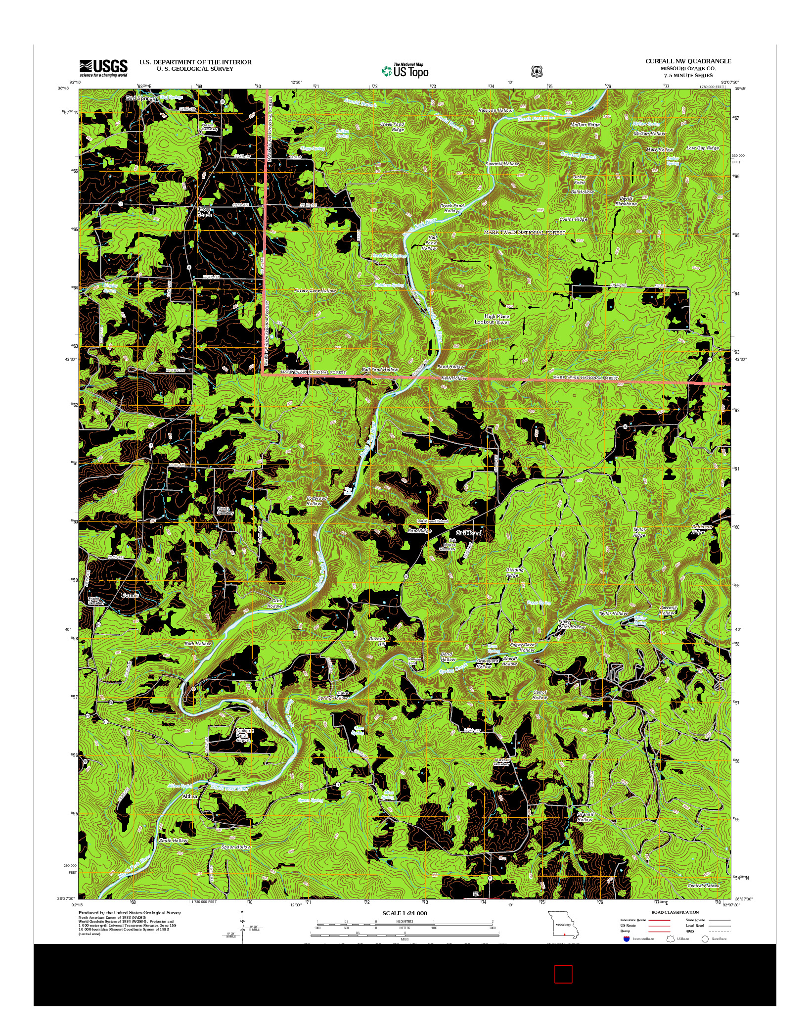 USGS US TOPO 7.5-MINUTE MAP FOR CUREALL NW, MO 2012