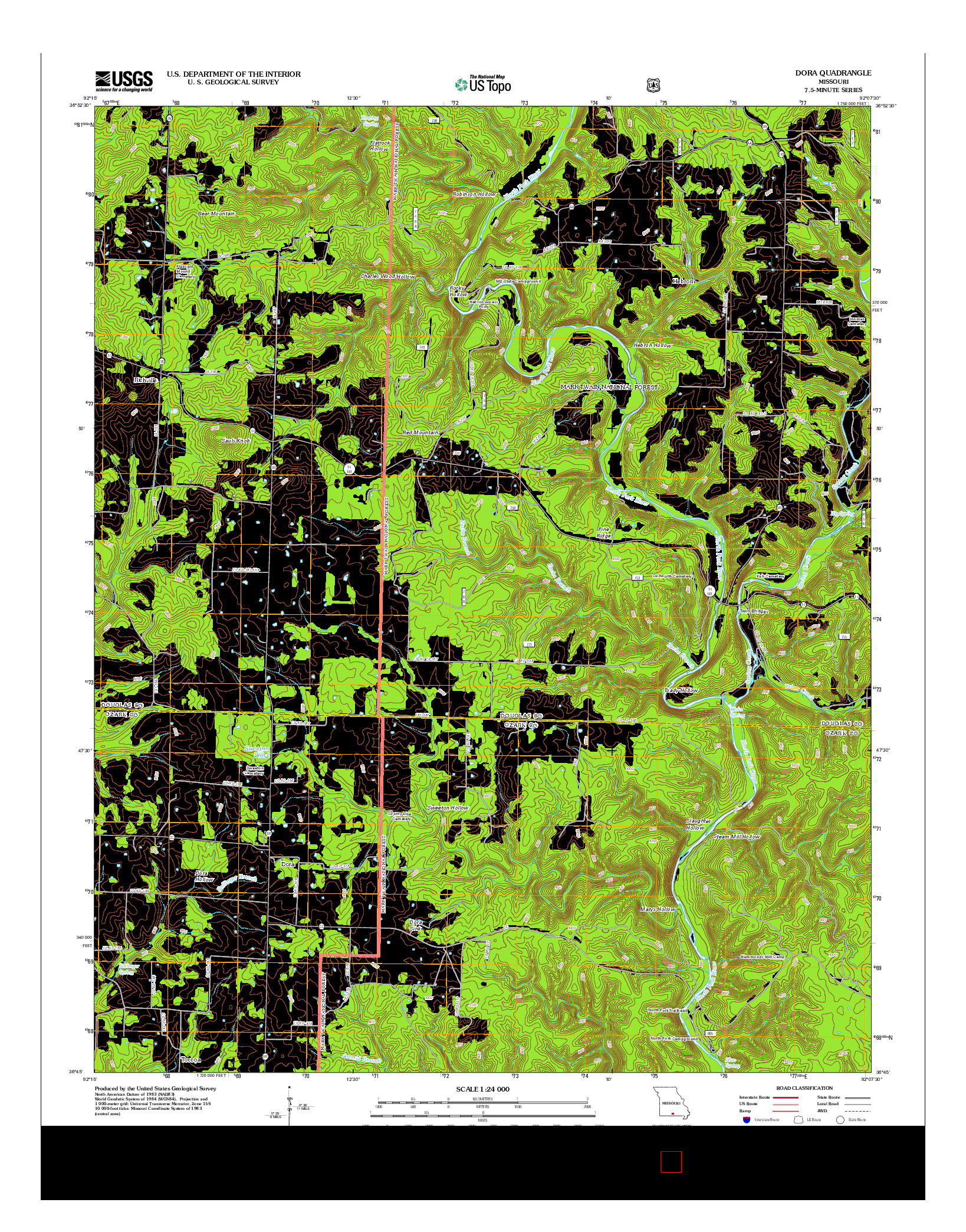 USGS US TOPO 7.5-MINUTE MAP FOR DORA, MO 2012
