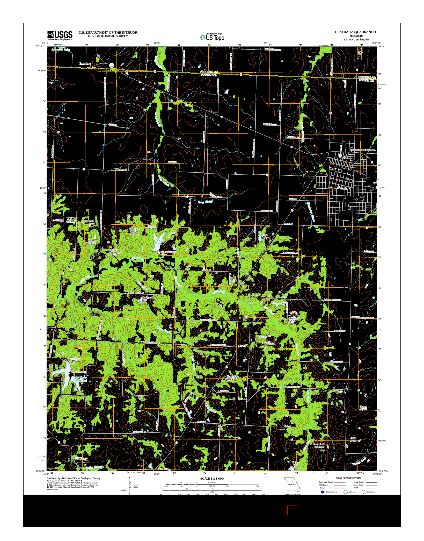 USGS US TOPO 7.5-MINUTE MAP FOR CENTRALIA, MO 2012