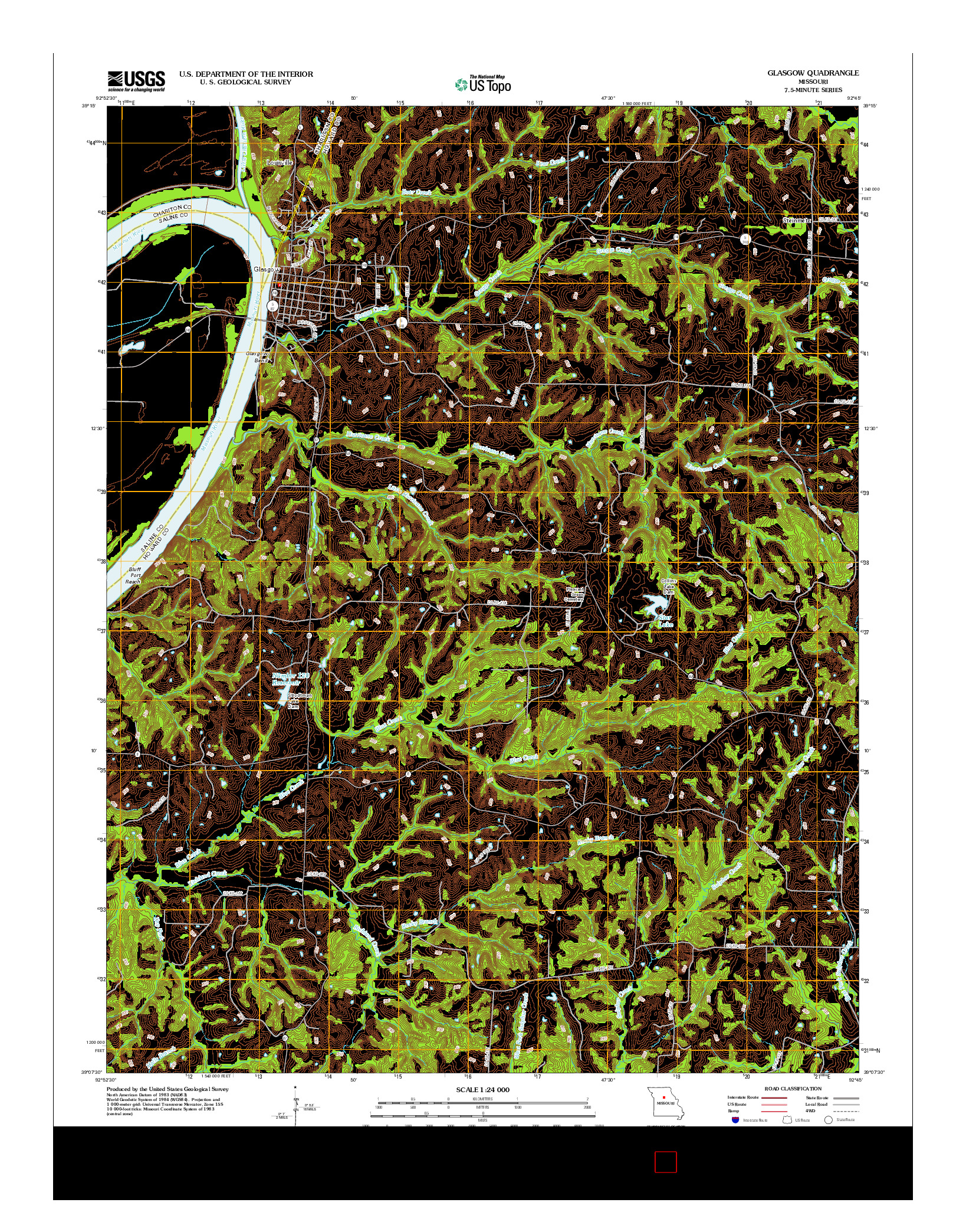 USGS US TOPO 7.5-MINUTE MAP FOR GLASGOW, MO 2012