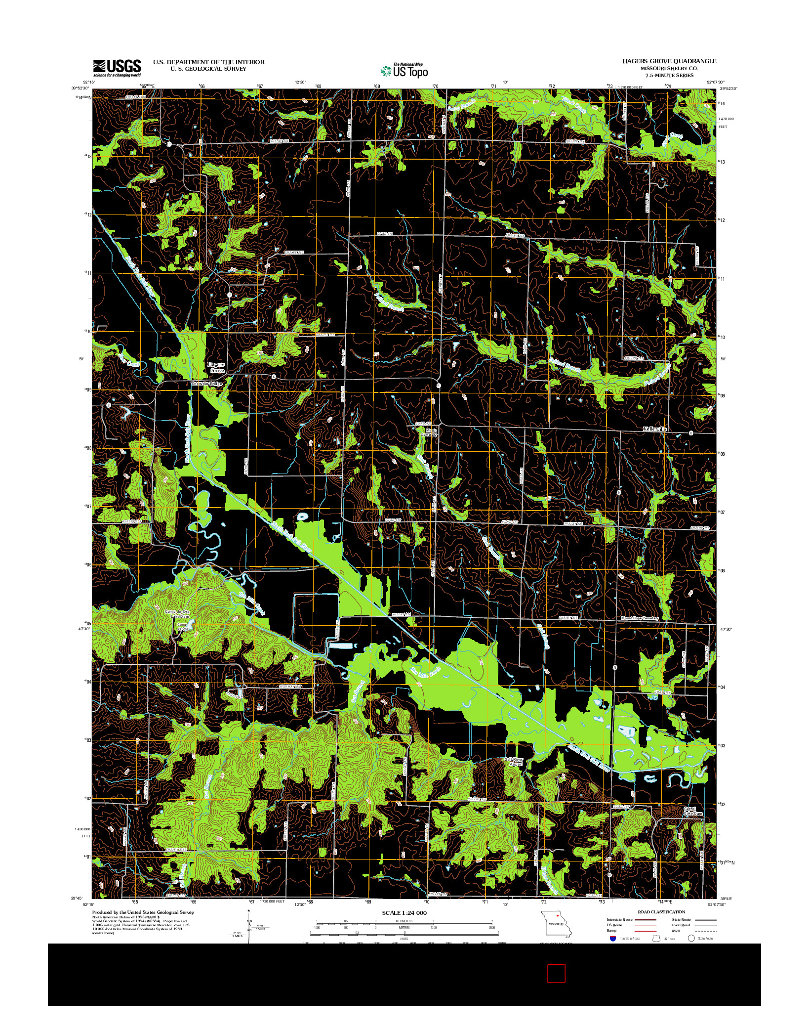 USGS US TOPO 7.5-MINUTE MAP FOR HAGERS GROVE, MO 2012