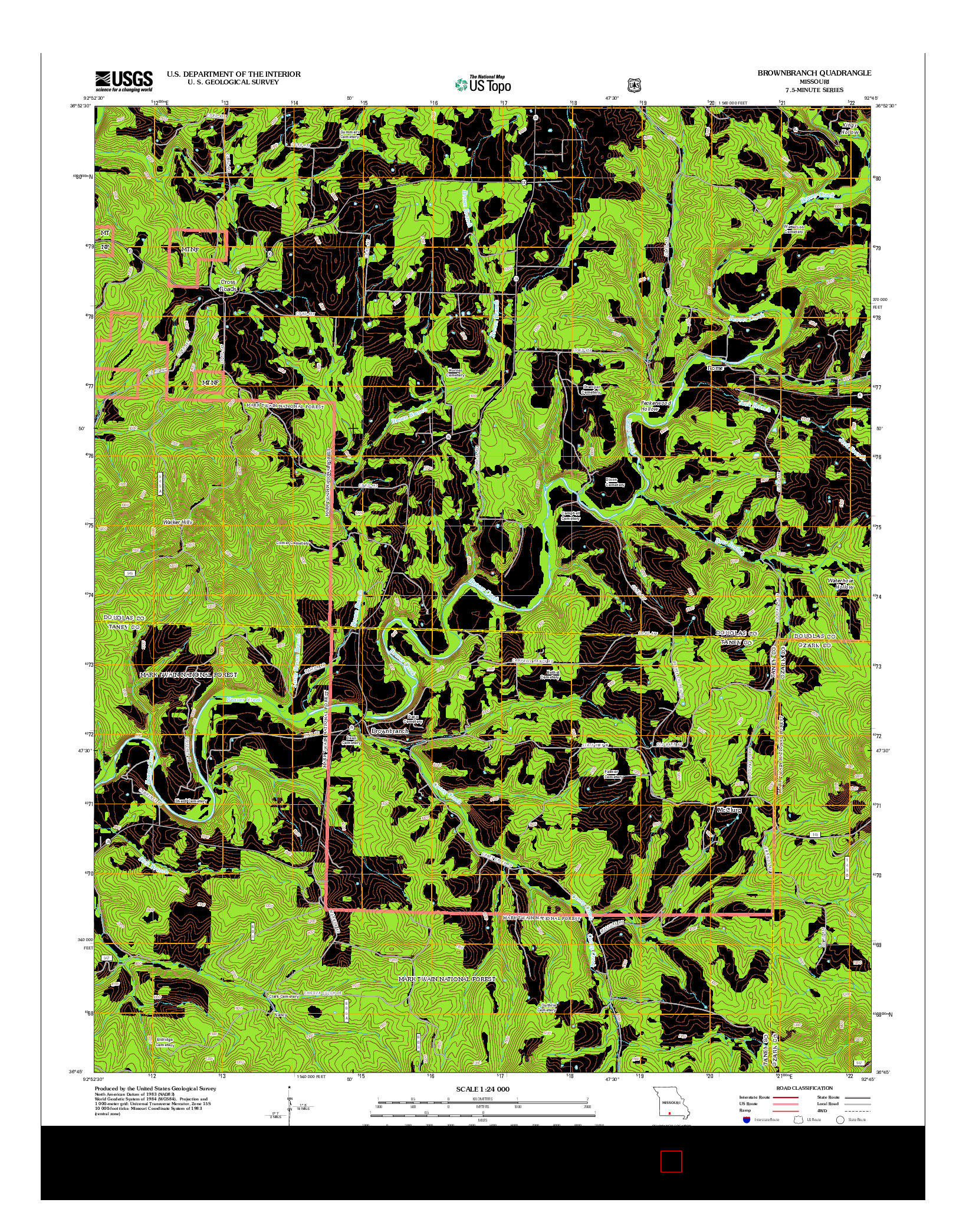 USGS US TOPO 7.5-MINUTE MAP FOR BROWNBRANCH, MO 2012