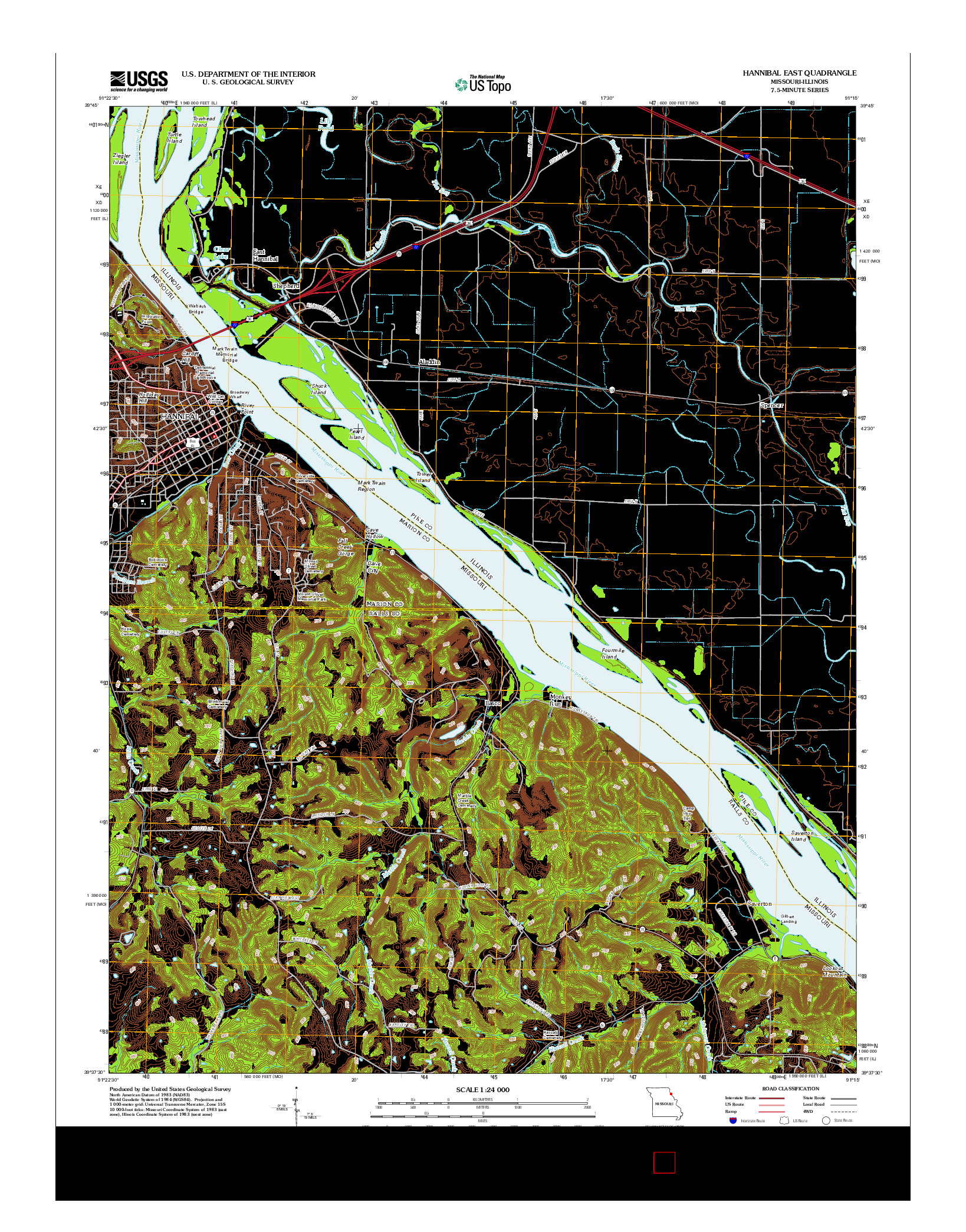 USGS US TOPO 7.5-MINUTE MAP FOR HANNIBAL EAST, MO-IL 2012