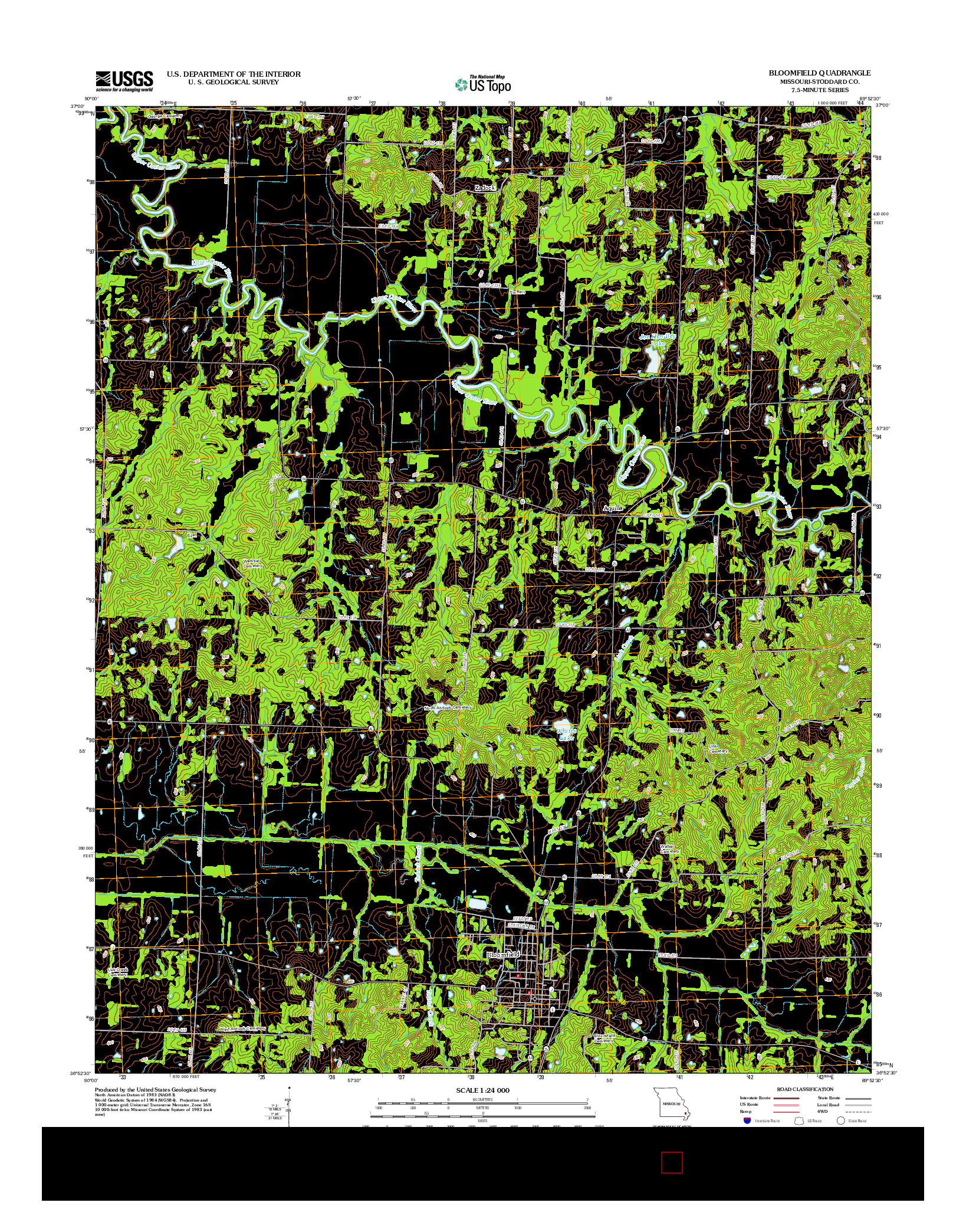 USGS US TOPO 7.5-MINUTE MAP FOR BLOOMFIELD, MO 2012