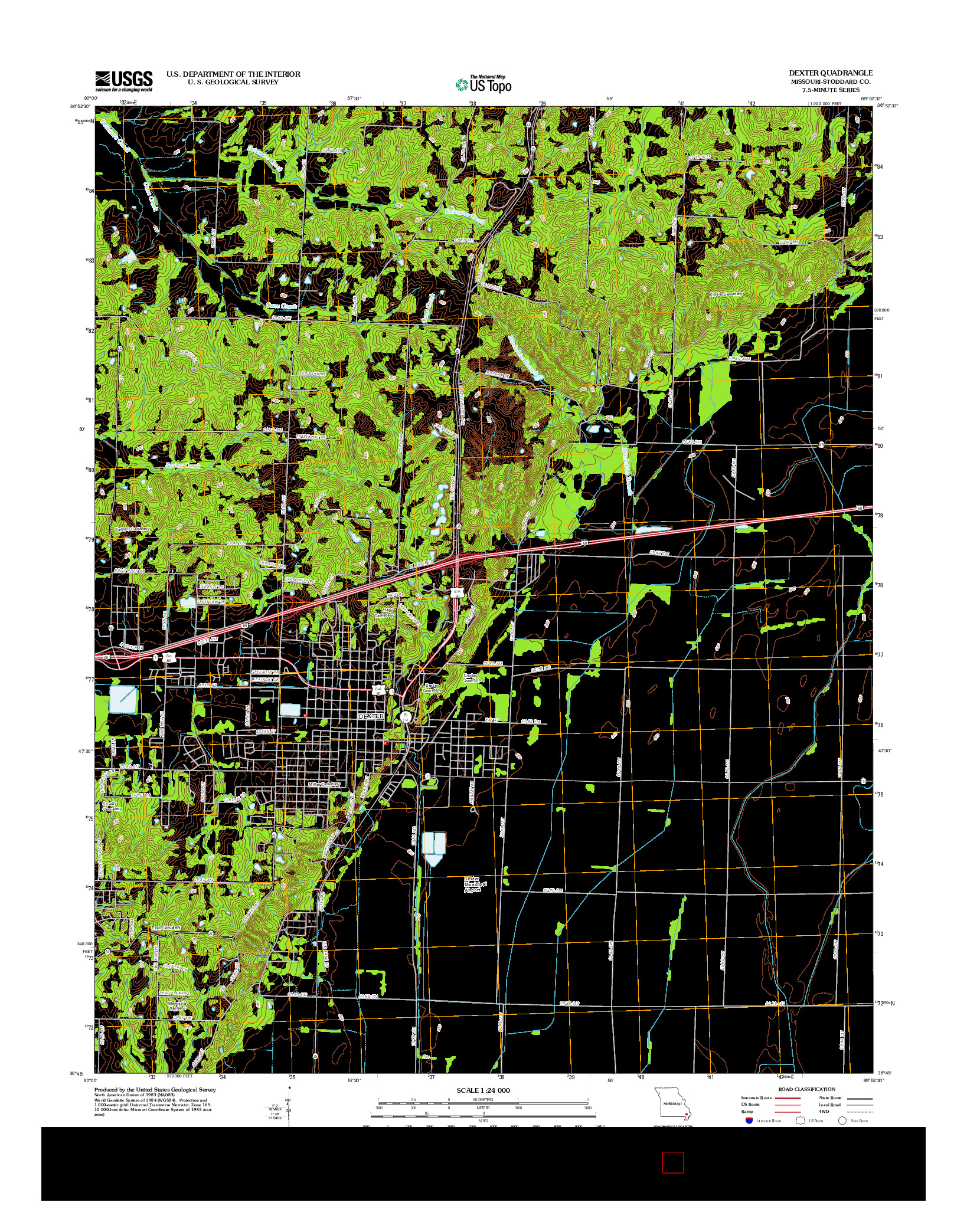 USGS US TOPO 7.5-MINUTE MAP FOR DEXTER, MO 2012