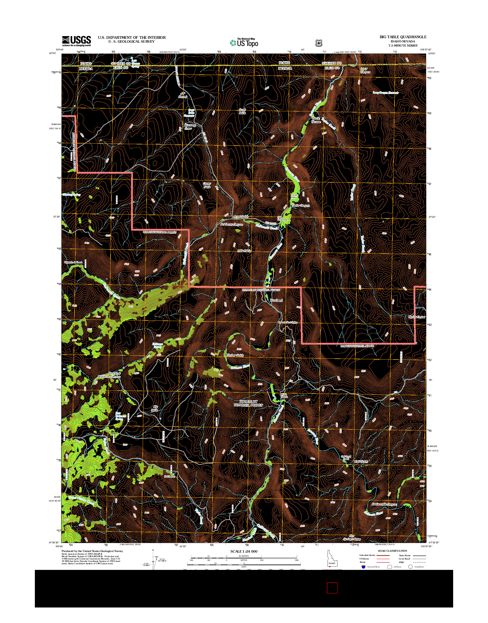 USGS US TOPO 7.5-MINUTE MAP FOR BIG TABLE, ID-NV 2012