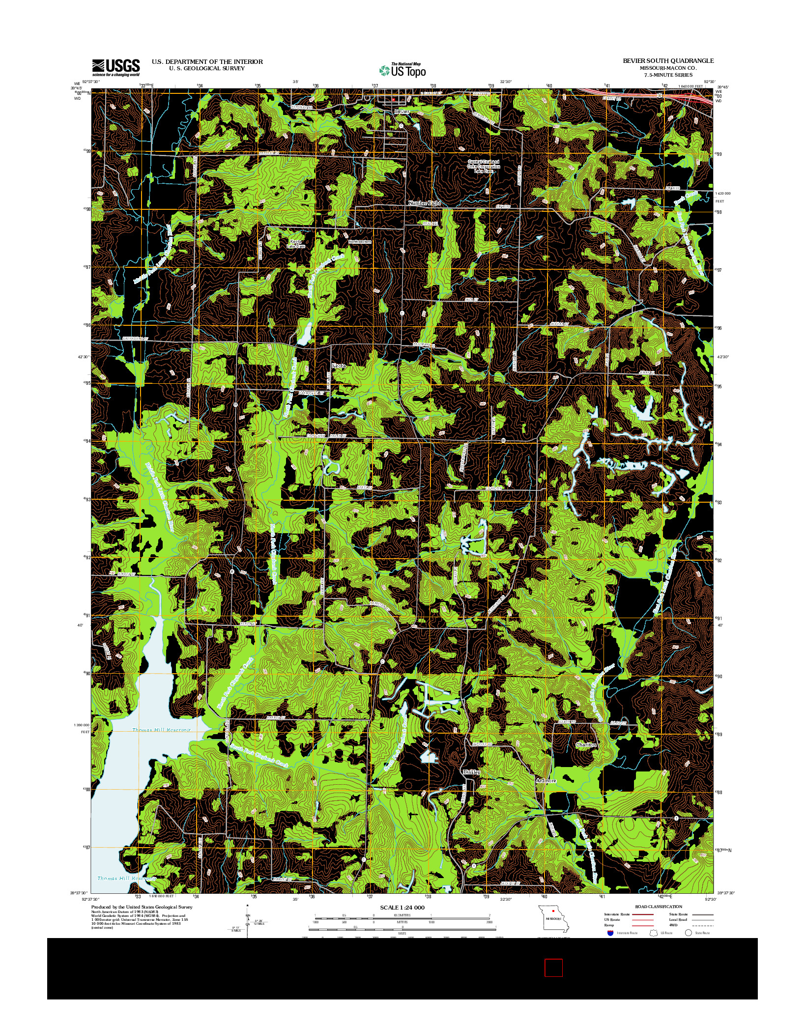USGS US TOPO 7.5-MINUTE MAP FOR BEVIER SOUTH, MO 2012