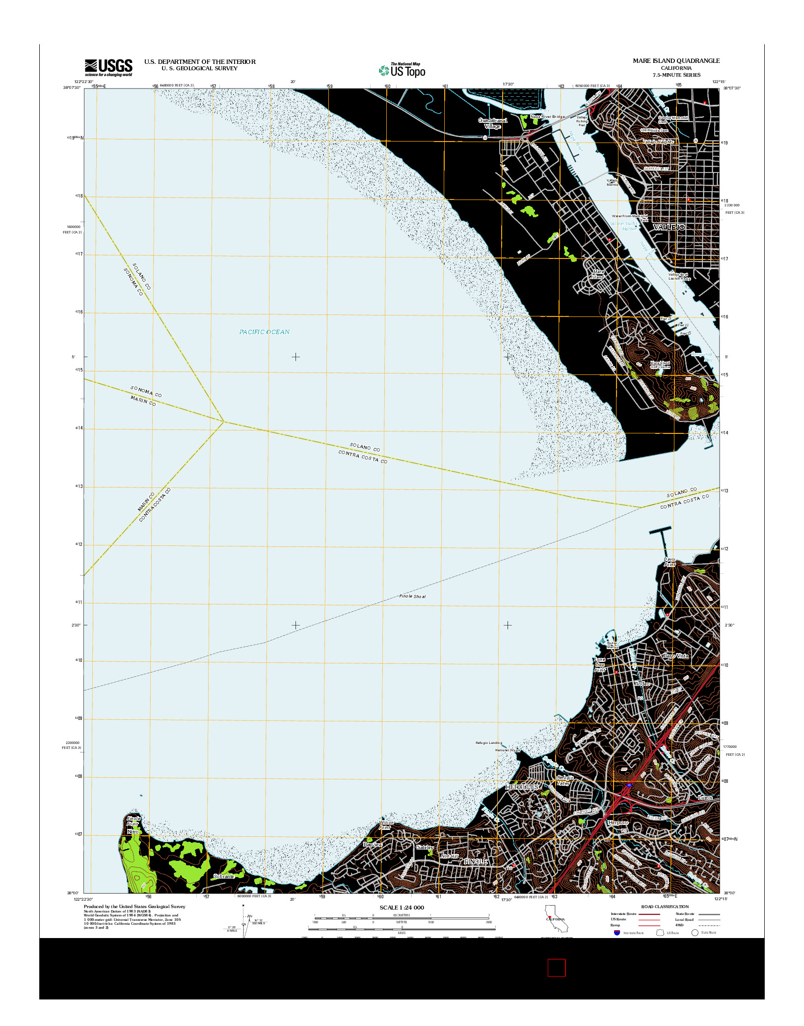 USGS US TOPO 7.5-MINUTE MAP FOR MARE ISLAND, CA 2012